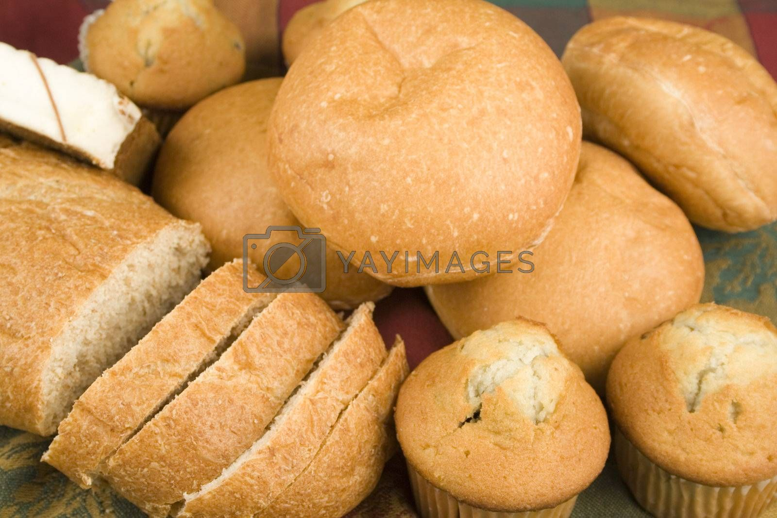 assortment of breads on nice table clth