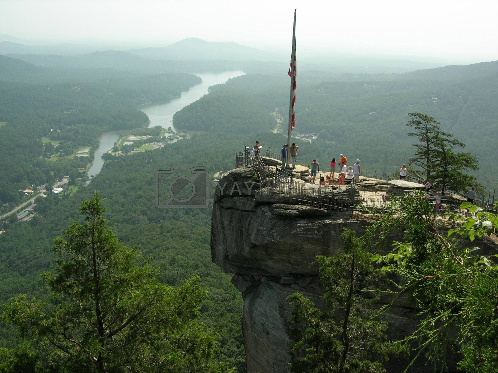 Chimney Rock Monument in the mountains of North Carolina