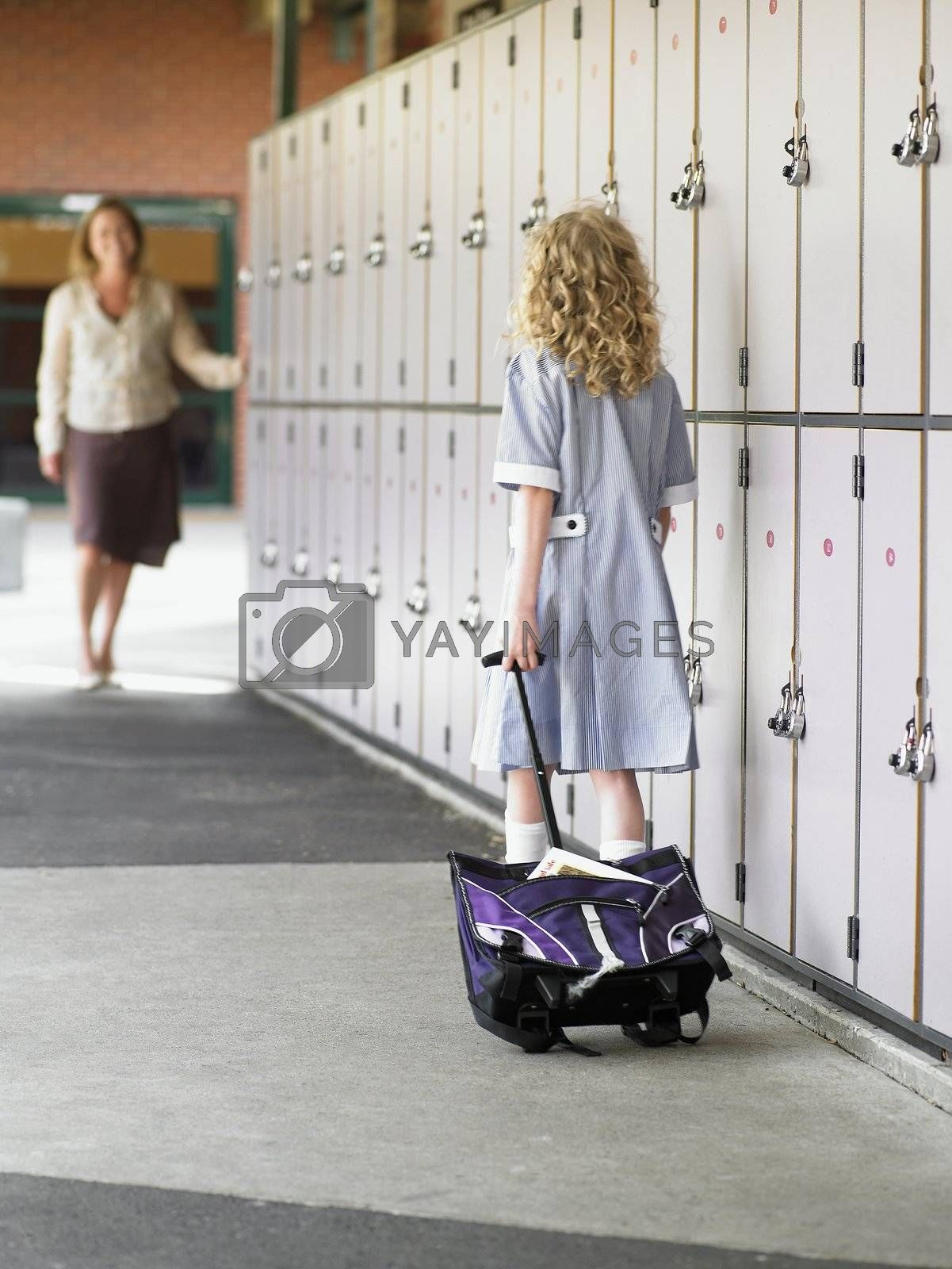 School Girl Waiting For Her Mother