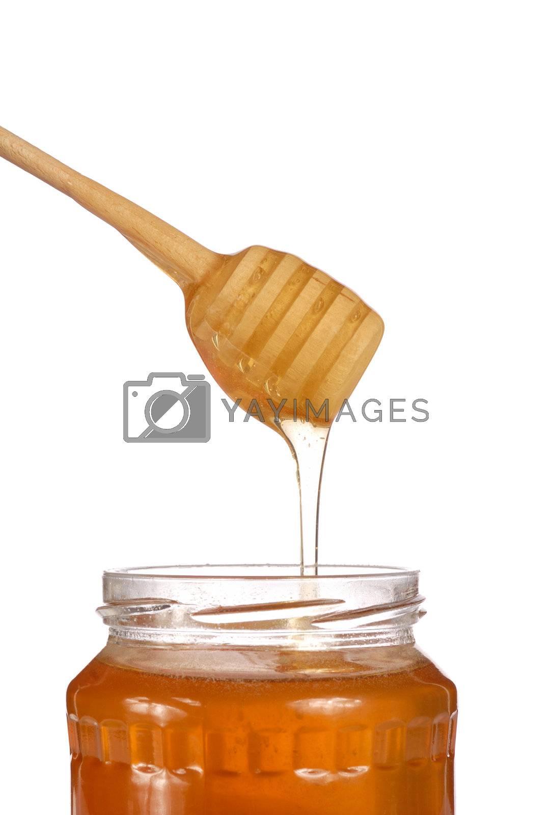Honey jar isolated on white background