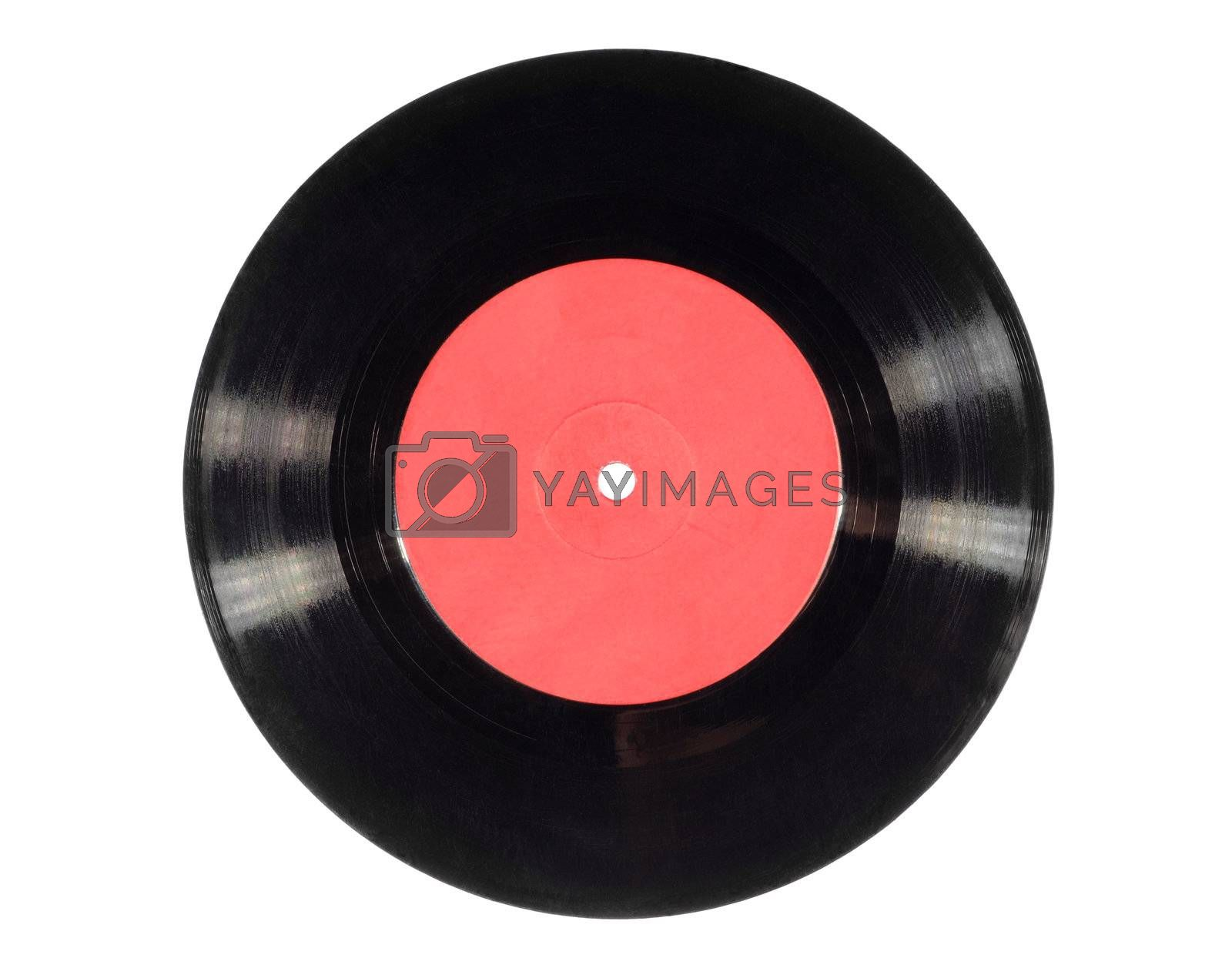 Old vinyl record (single) isolated on white