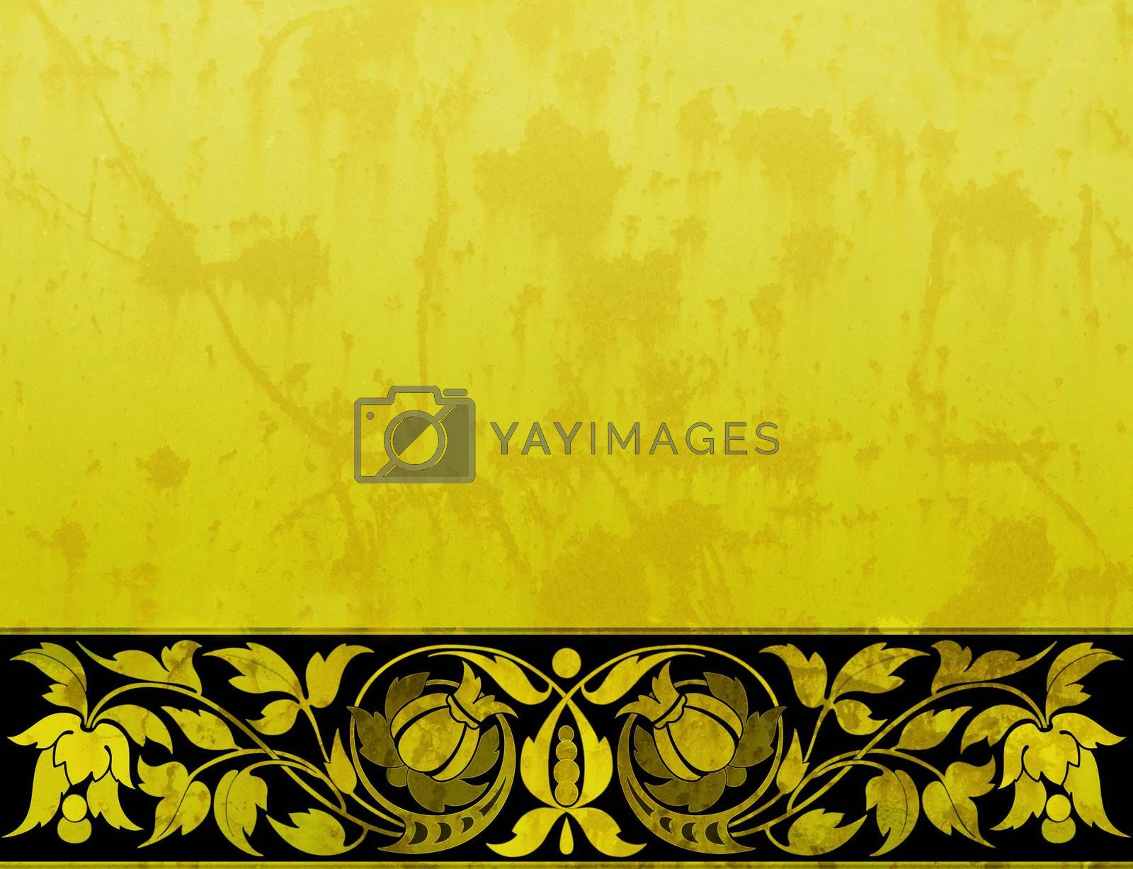 Yellow grungy background with floral ornaments
