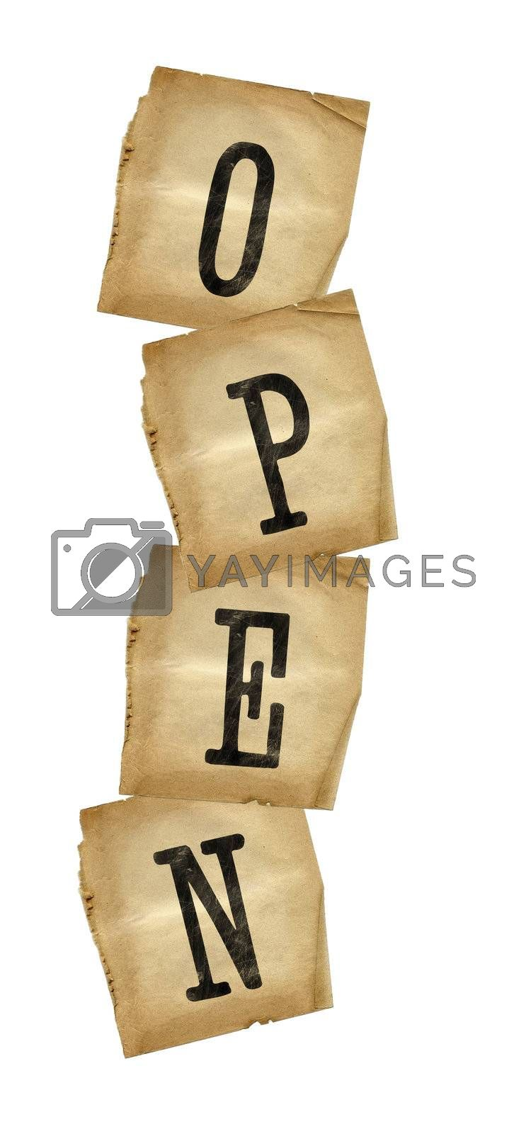 Grungy brown letters forming the word OPEN