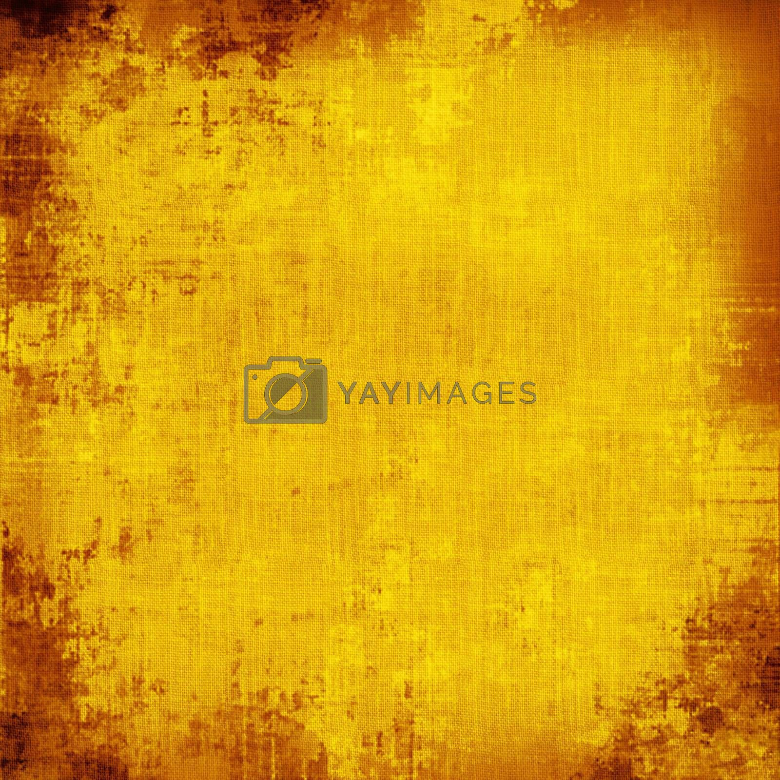 Square piece of yellow, grungy fabric with stains.