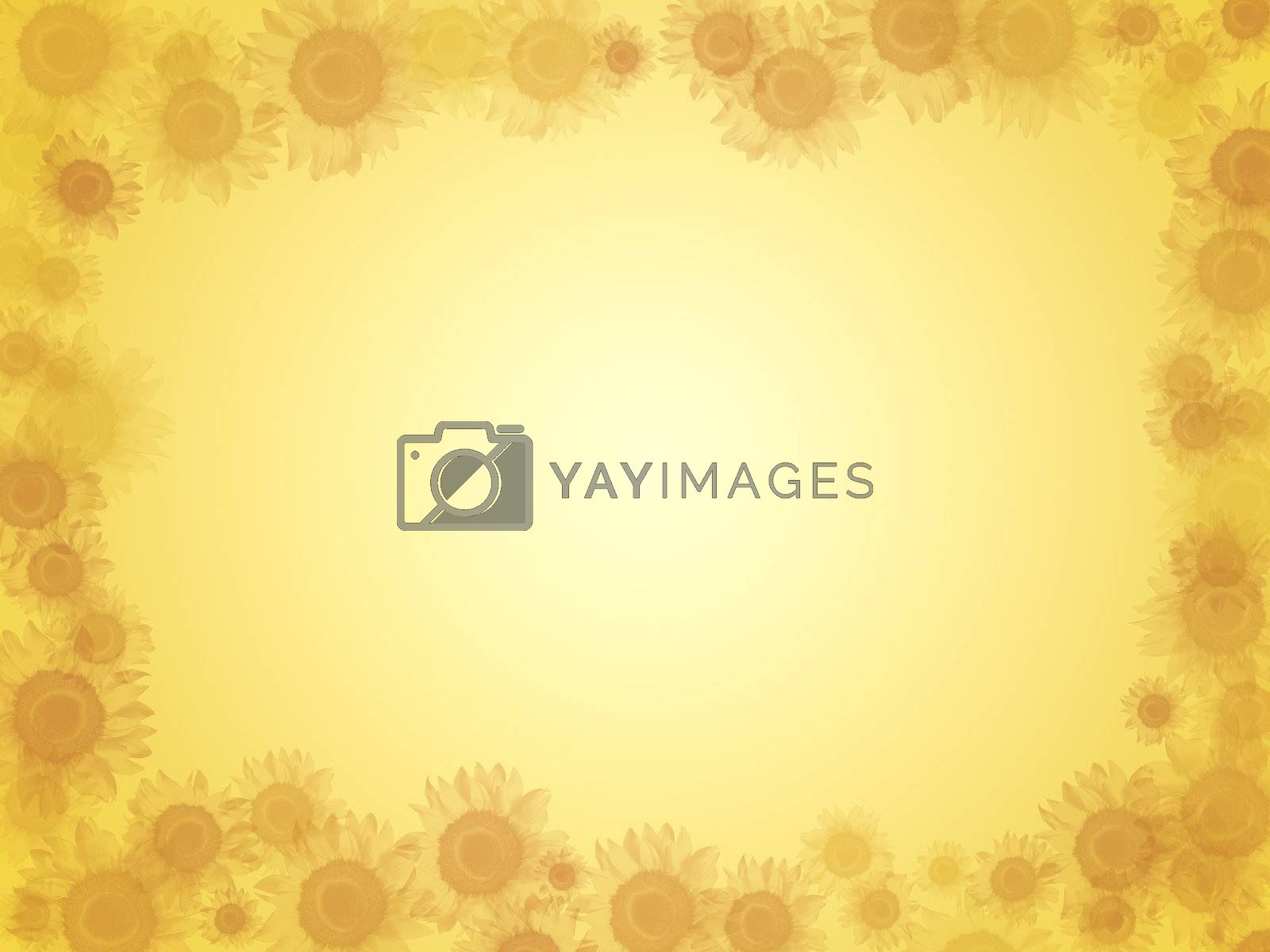 Bright yellow background with lots of sunflowers