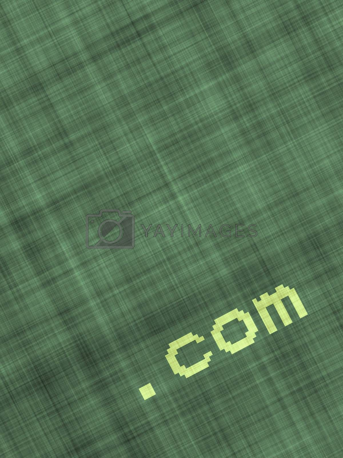 internet icon .com on textile background