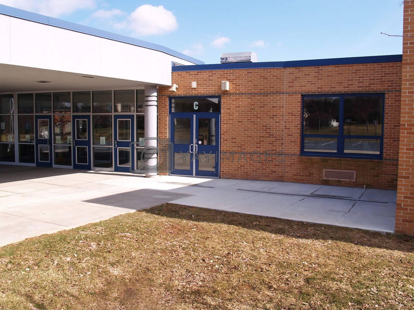 front door and windows of a modern school