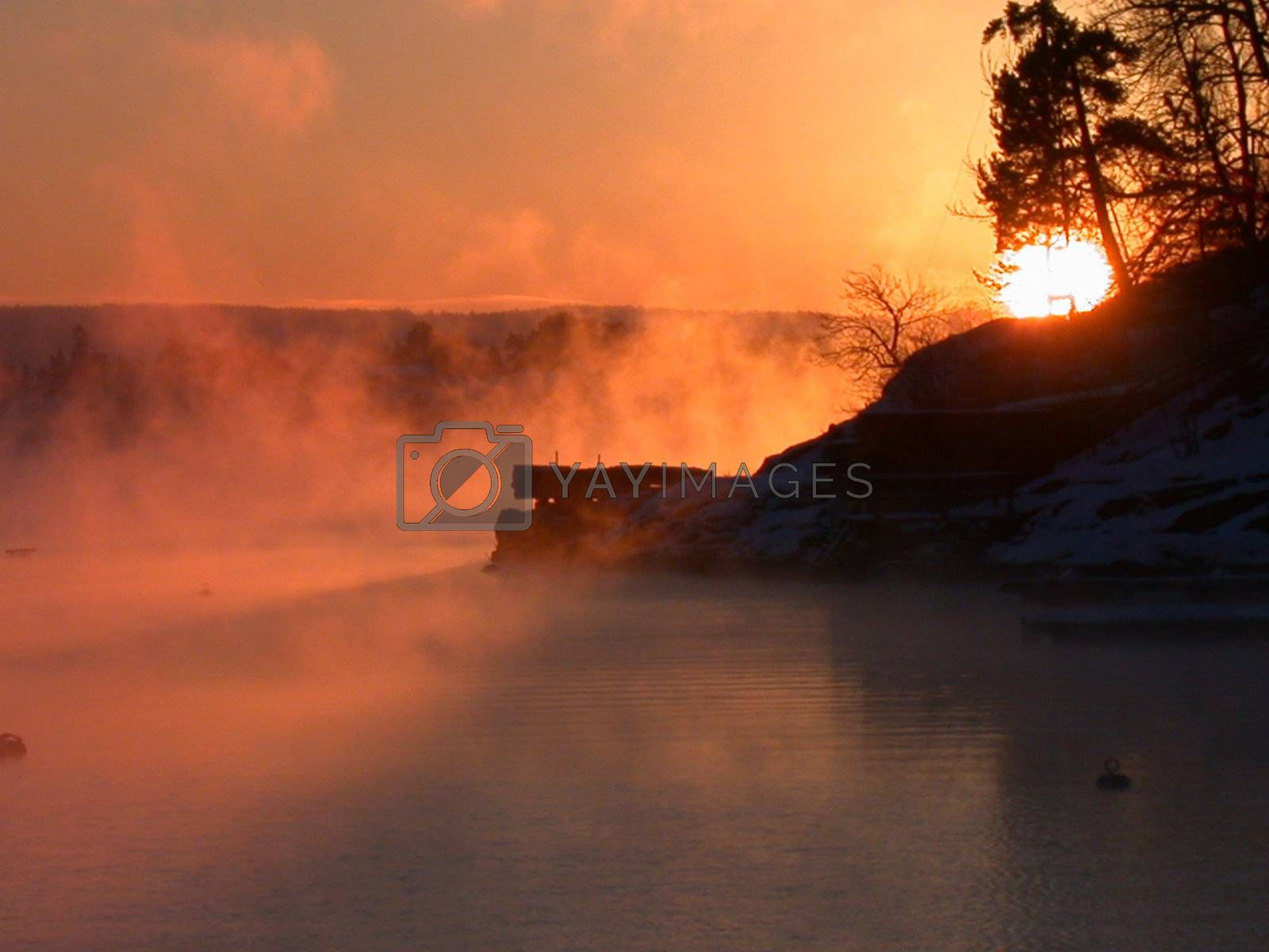 Cold morning in december at the Oslofjord