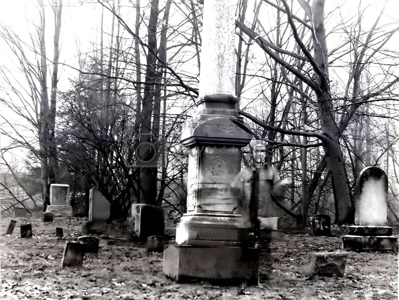 The lonely, soulfull look of a female ghost in a cemetary-black and white in an almost high key for effect.