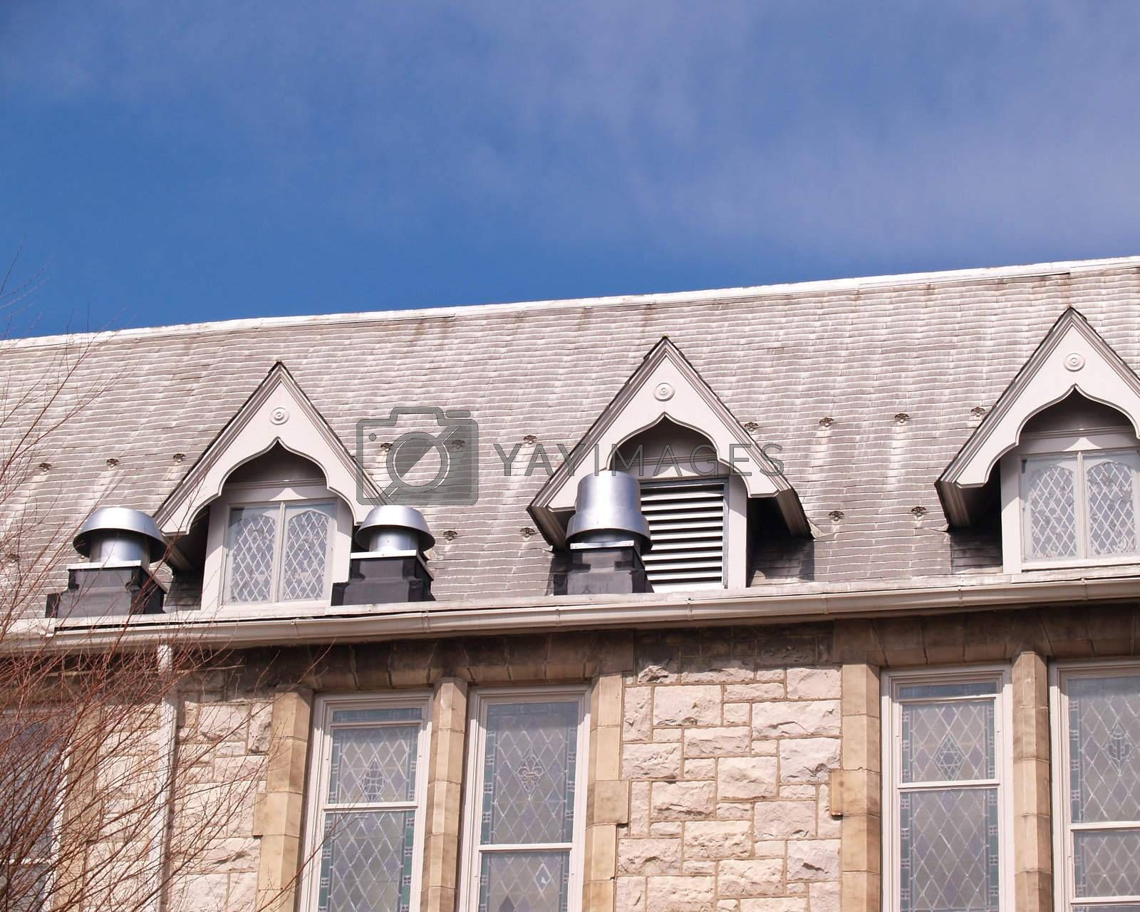 roof on an old stone building