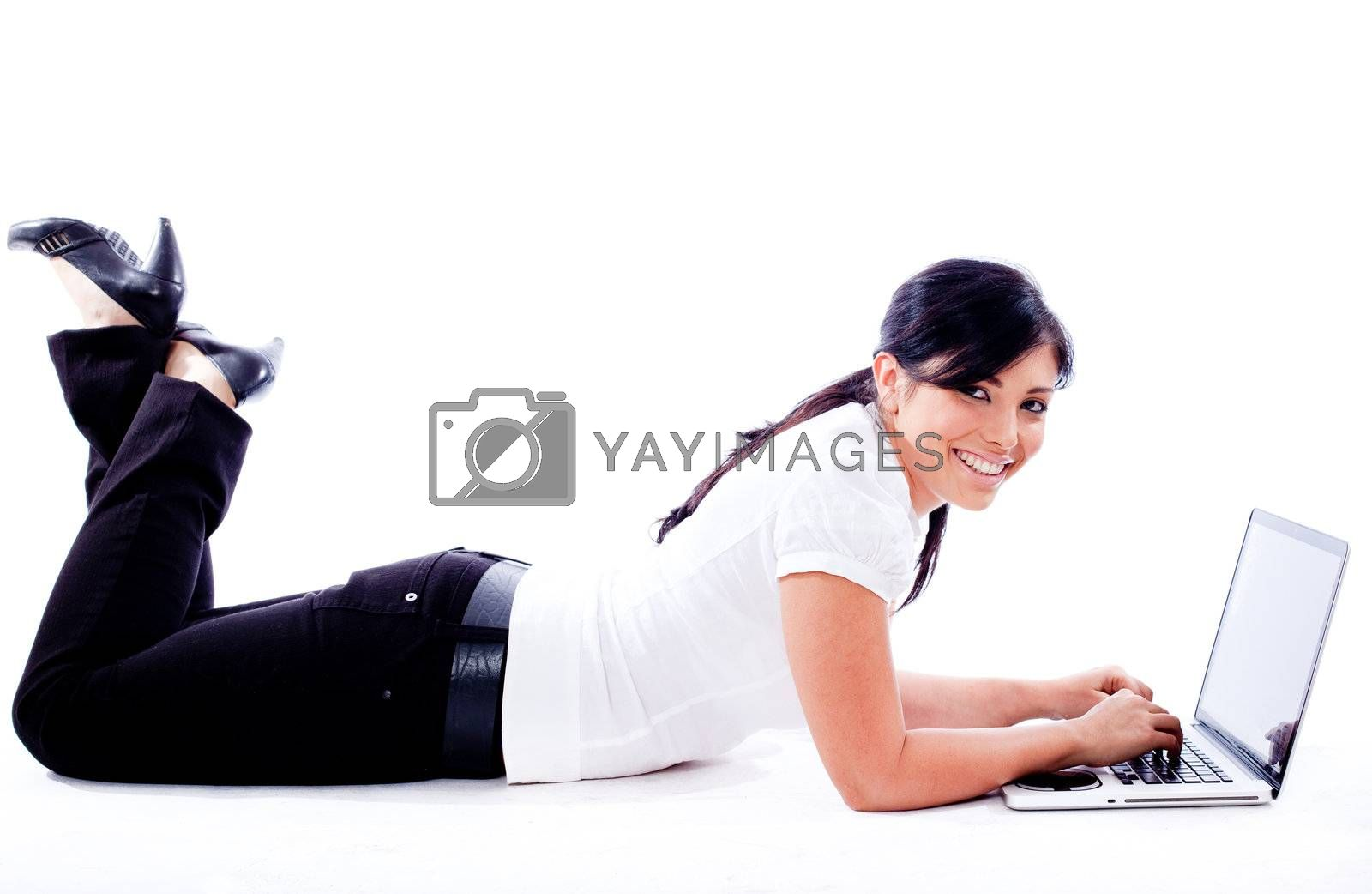 Business woman lying with laptop on white isolated background