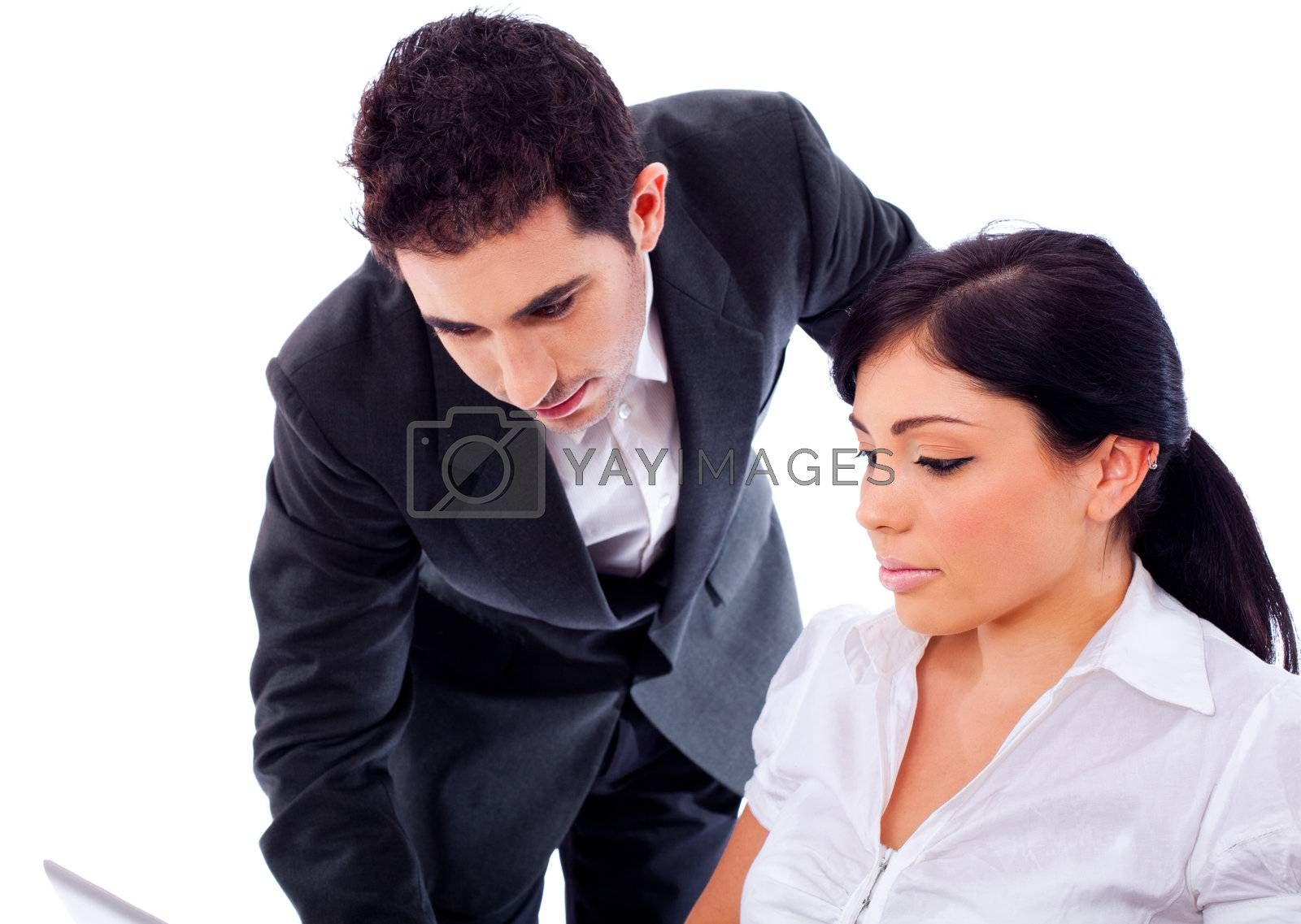 Closeup of corporate colleagues working on a isolated background