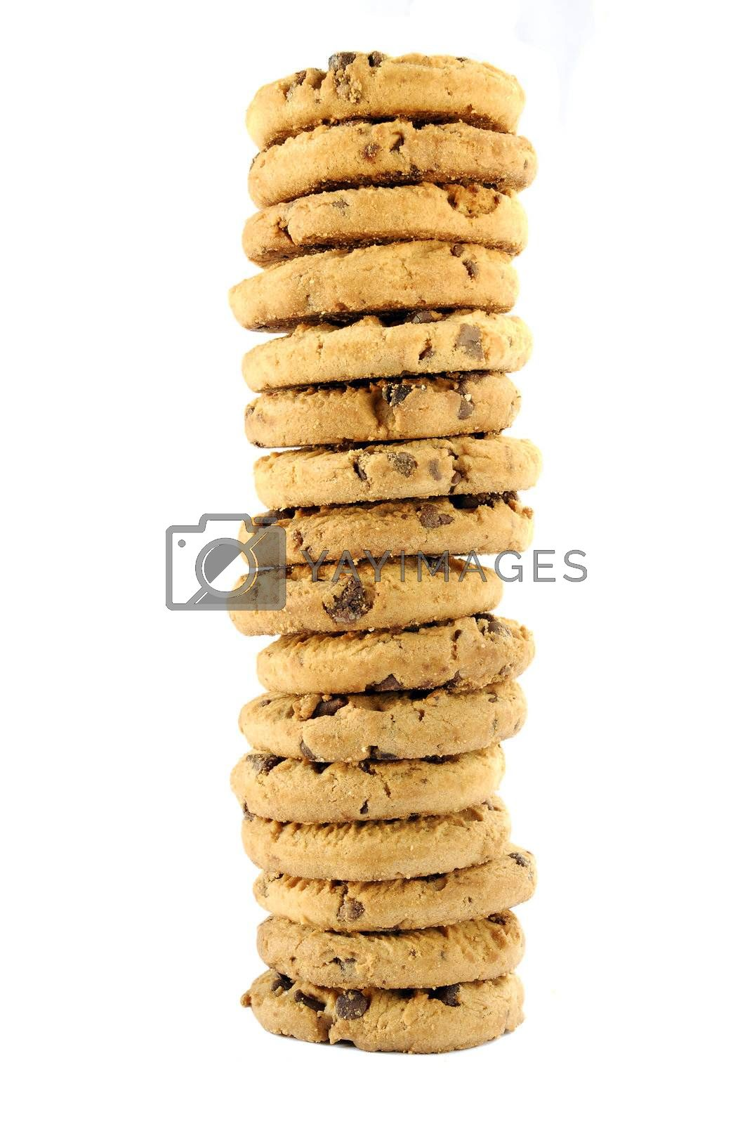 a tower of delicious chocolate chip cookies