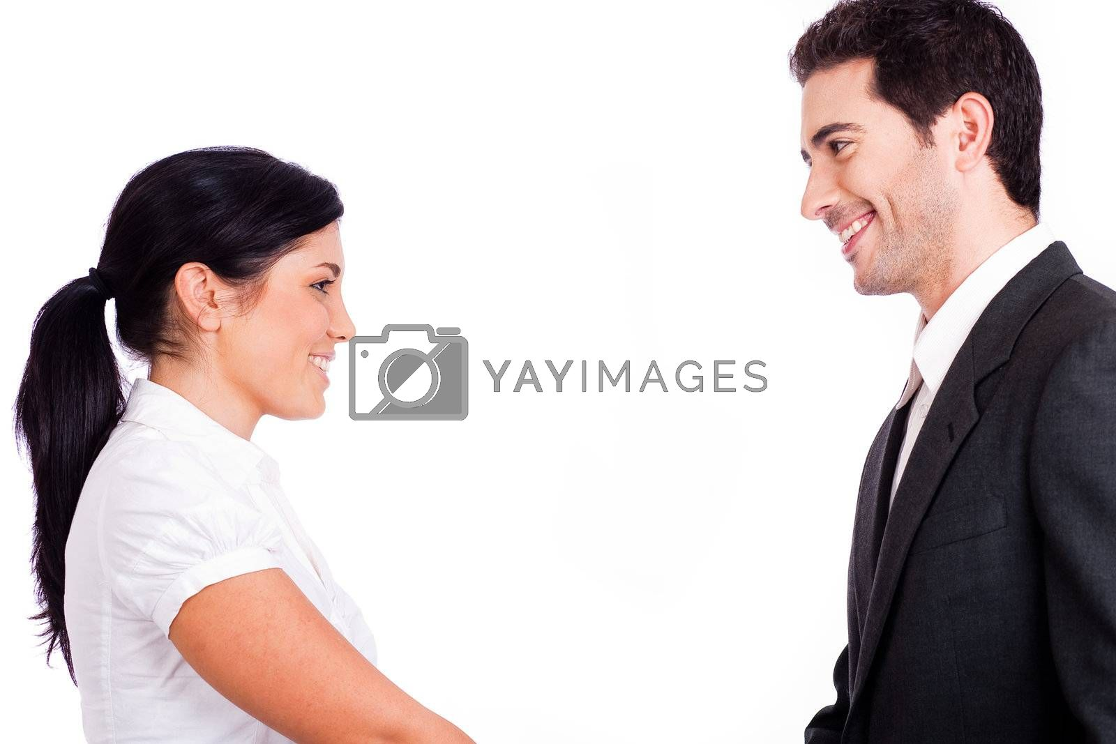 Business people looking each other half length shot on a white isolated background