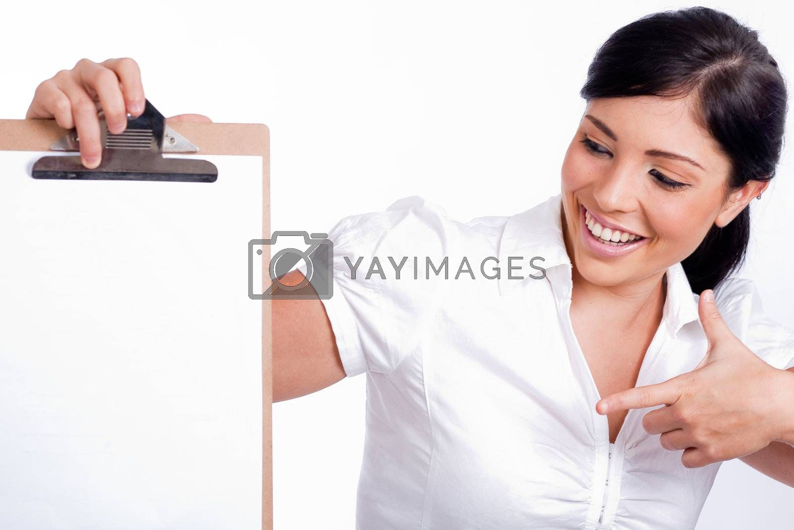 American business woman Pointing blank Clip board on white isolated background