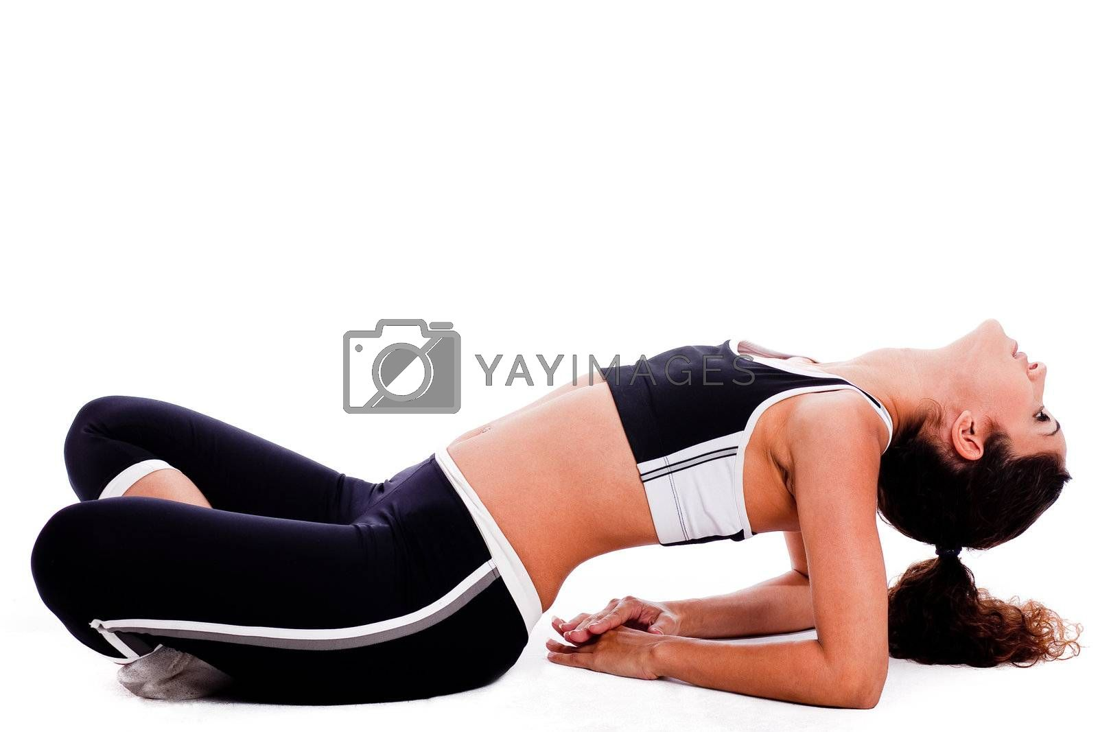 young yoga female doing yoga excercise