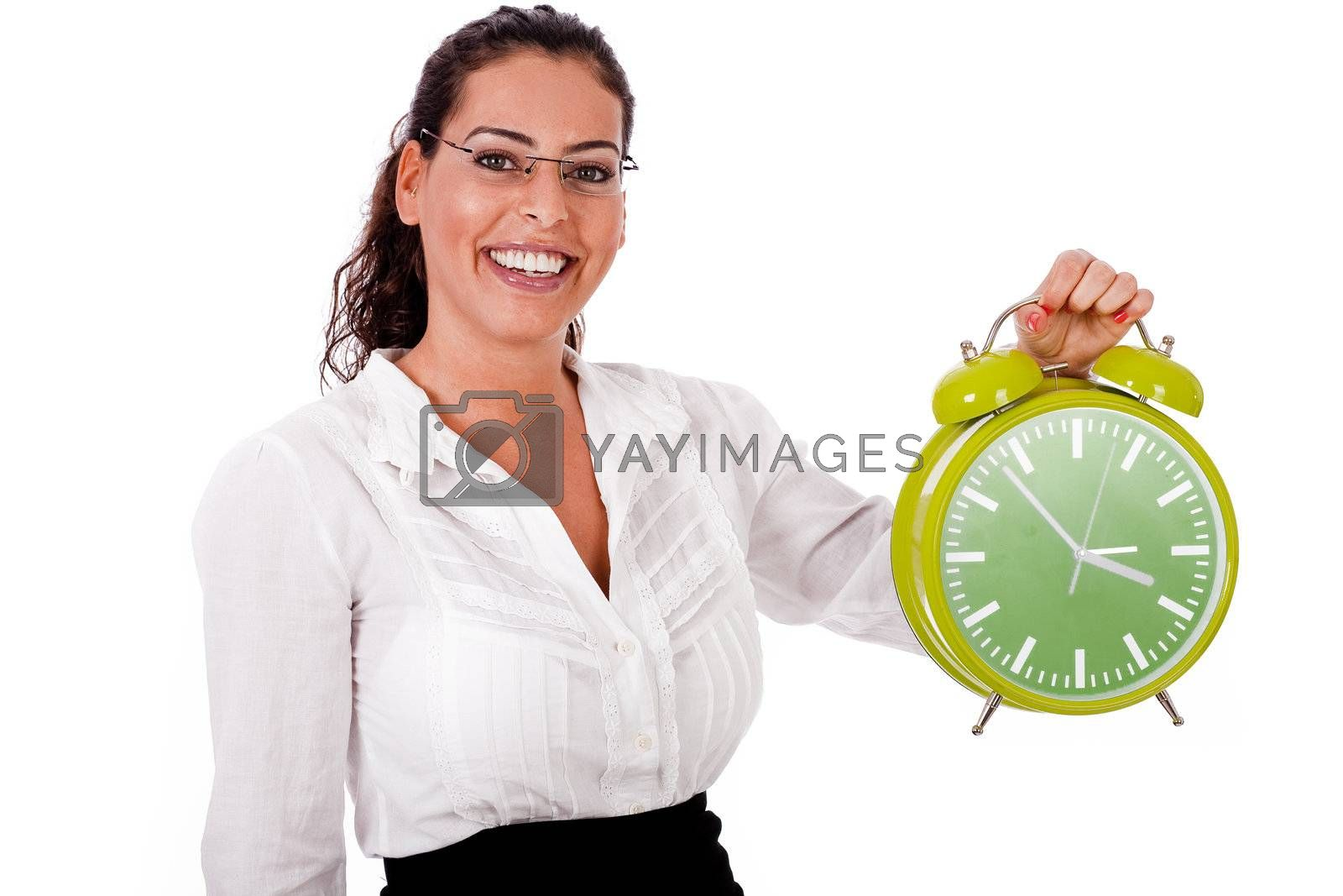 Young business womanshowing a green colour clock on isolated white background