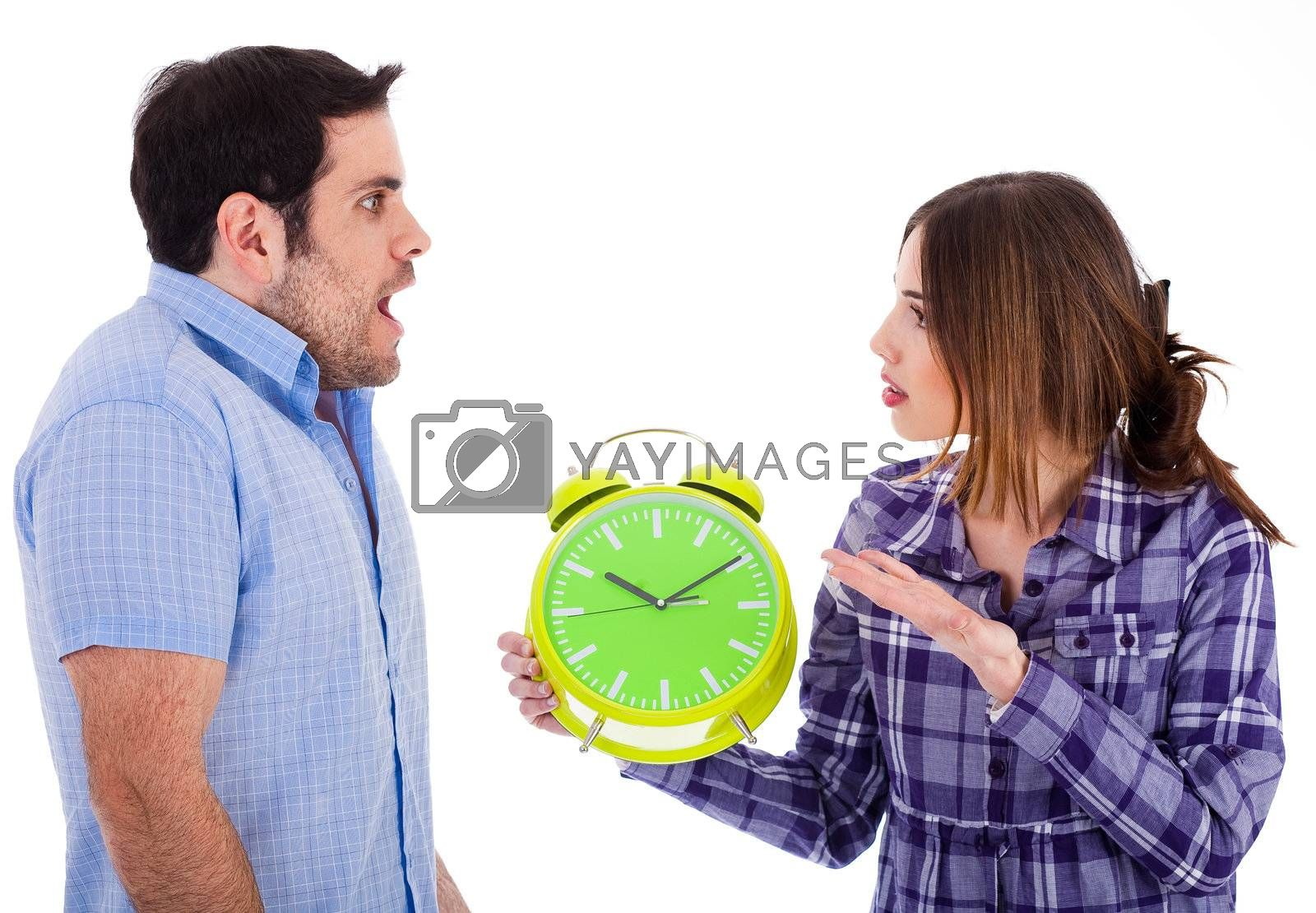Women angry on her boyfriend for being late by showing the clock on a white background