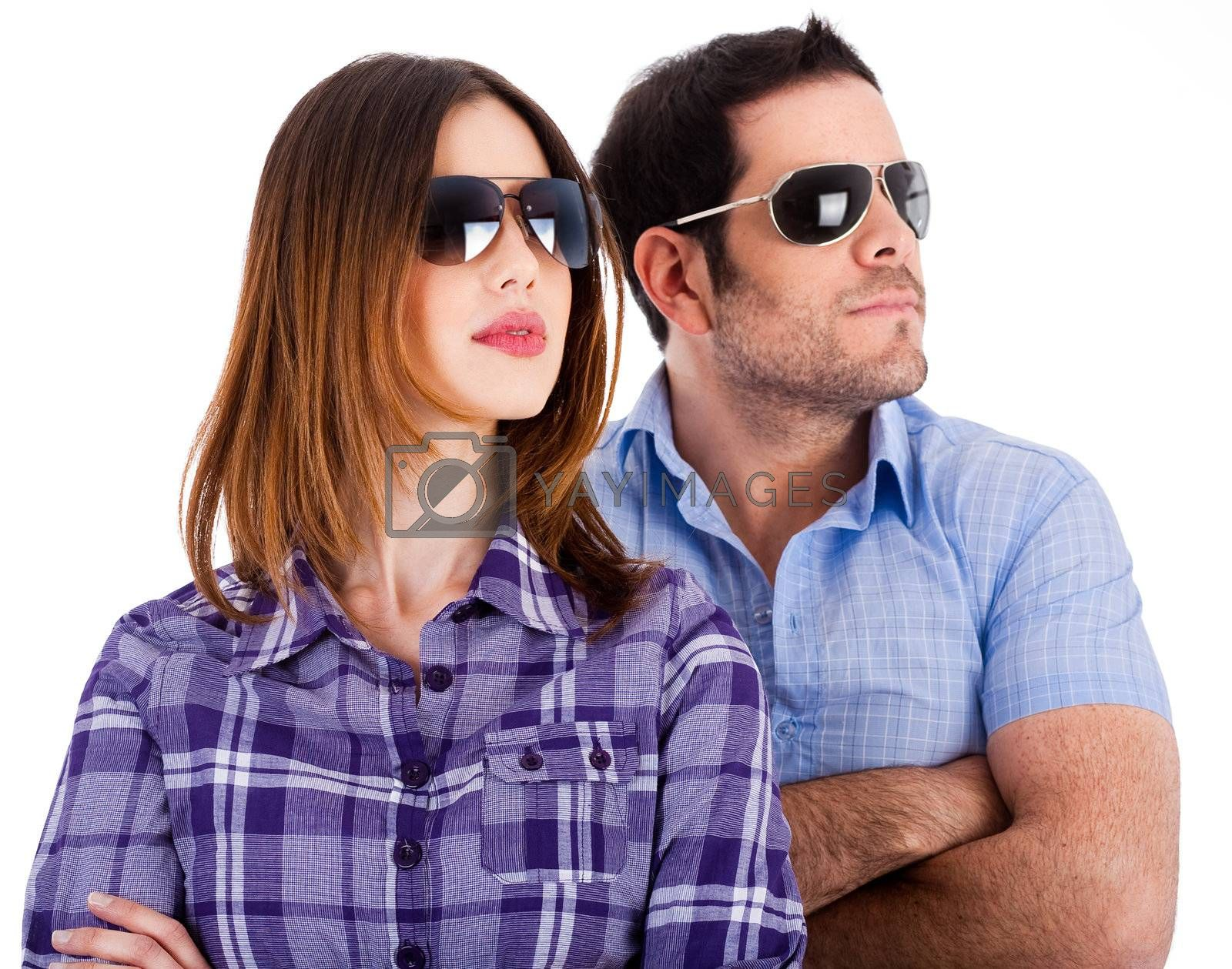 Fsshion models looking left with sunglasses on a isolated white background