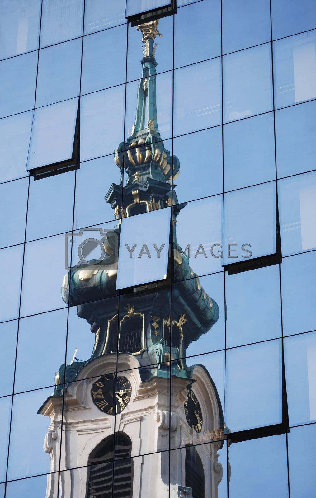 Churchs reflection in a modern hotel in Vienna