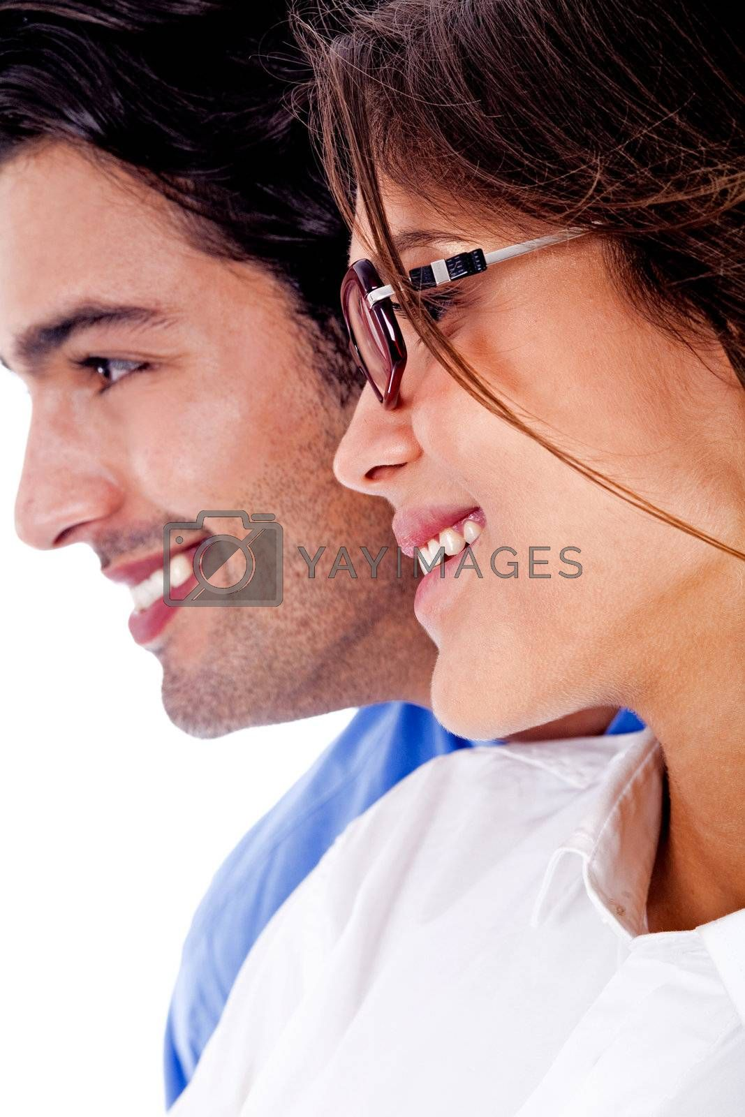Smiling young couple on isolated white backround