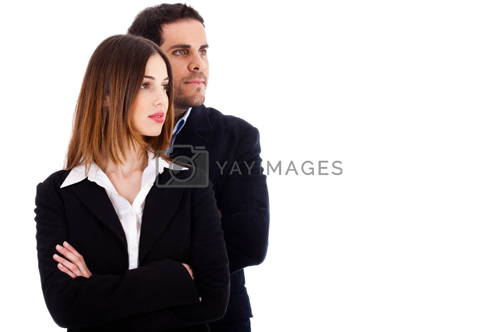 Two young business people on a white background