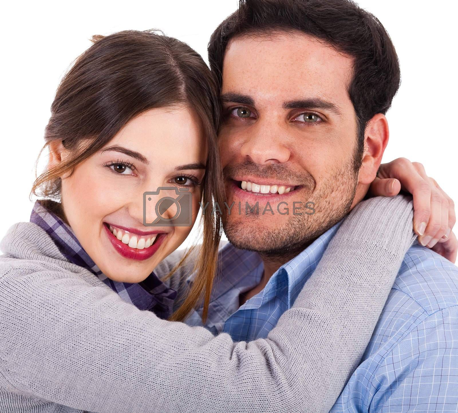 Beautiful young couple closeup shot on a white background