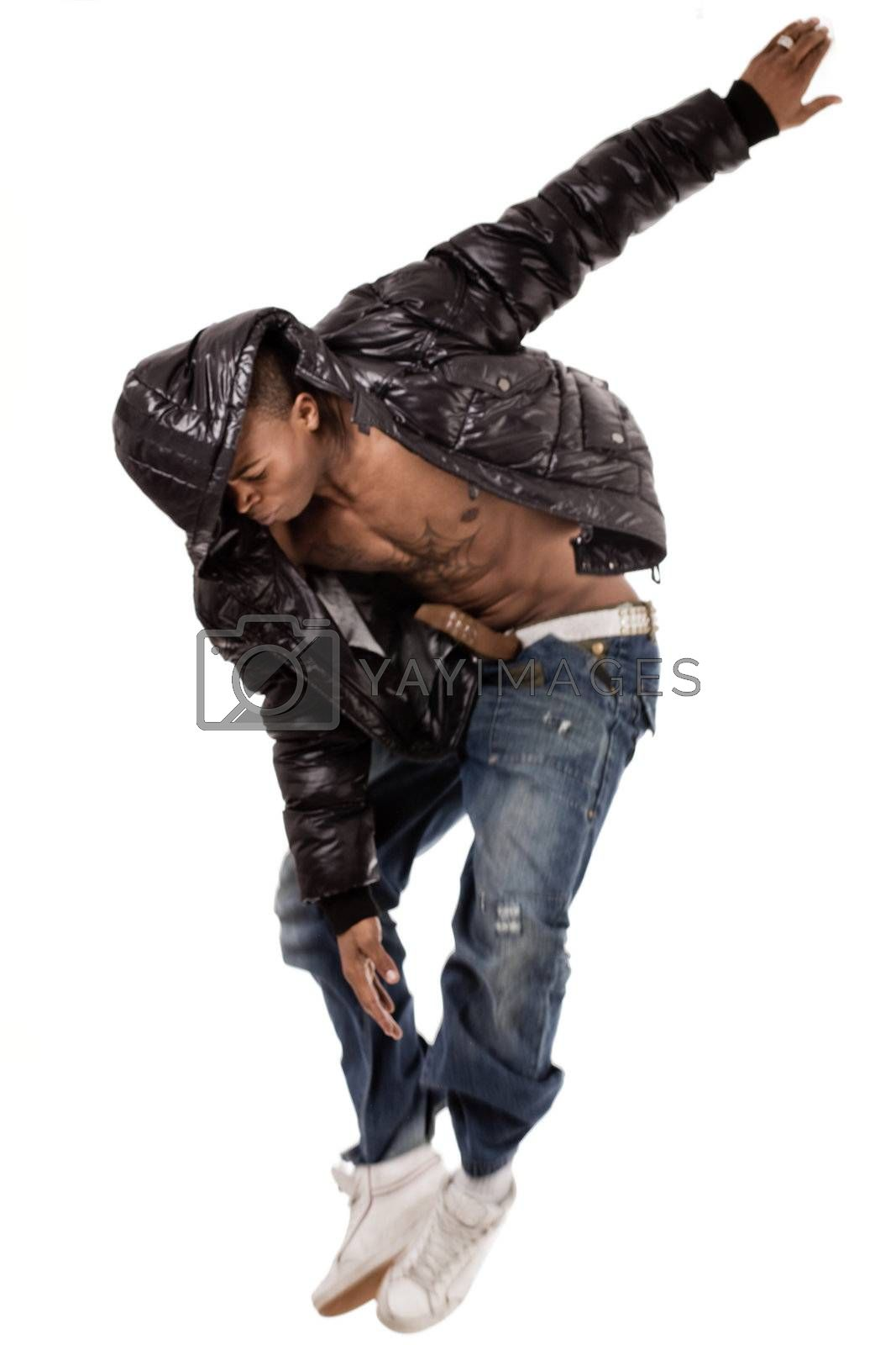 Stylish dance performance by black man on white background