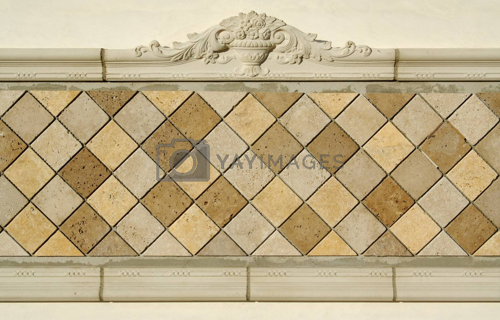 Ornate Tiled Blank Wall Sign Ready for Your Message