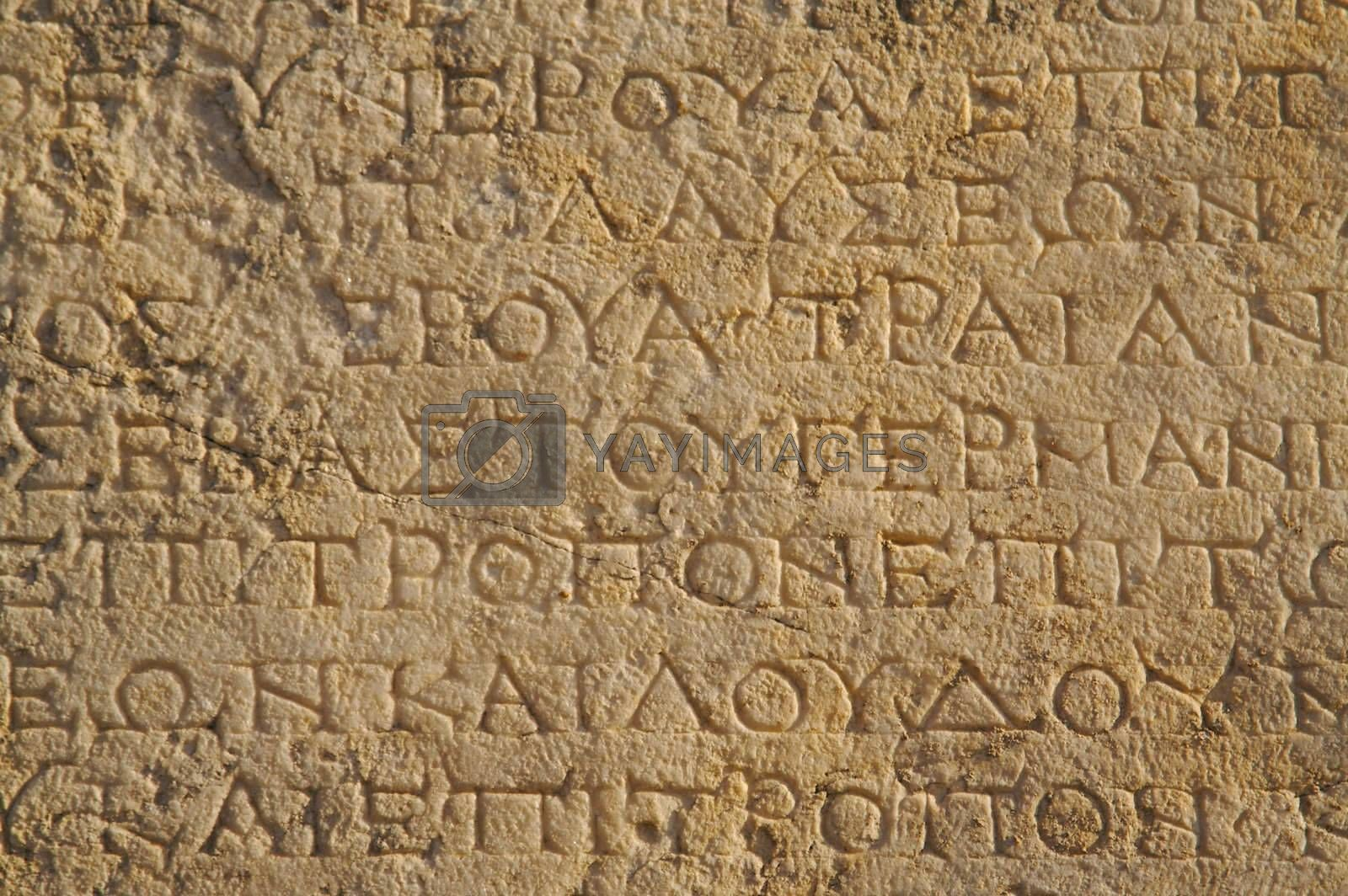 A close up of ancient Greek text from Ephesus, Turkey.
