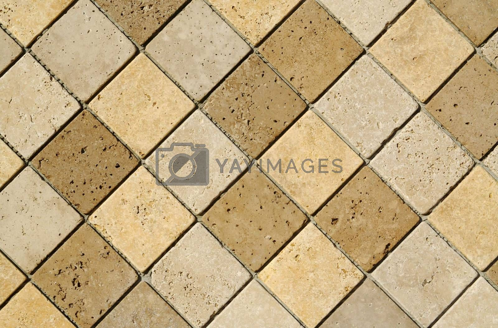 Freshly laid decorative wall tiles abstract.