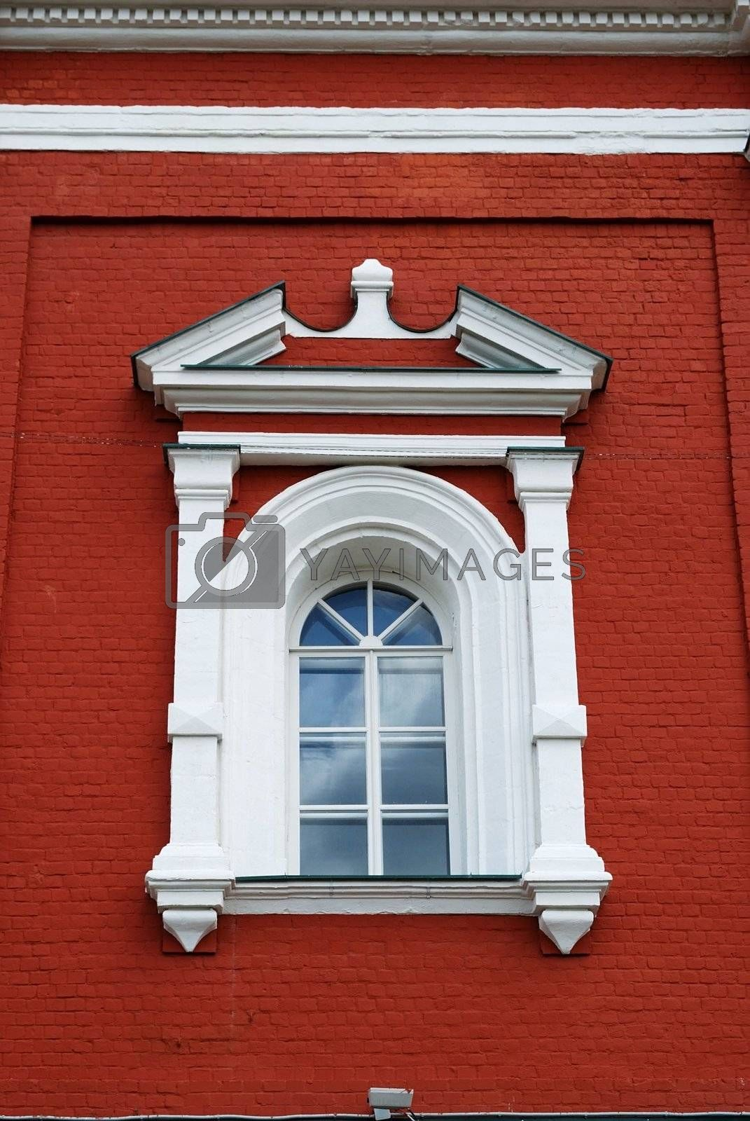 Architectural detail. Window of Russian church in traditional classical style