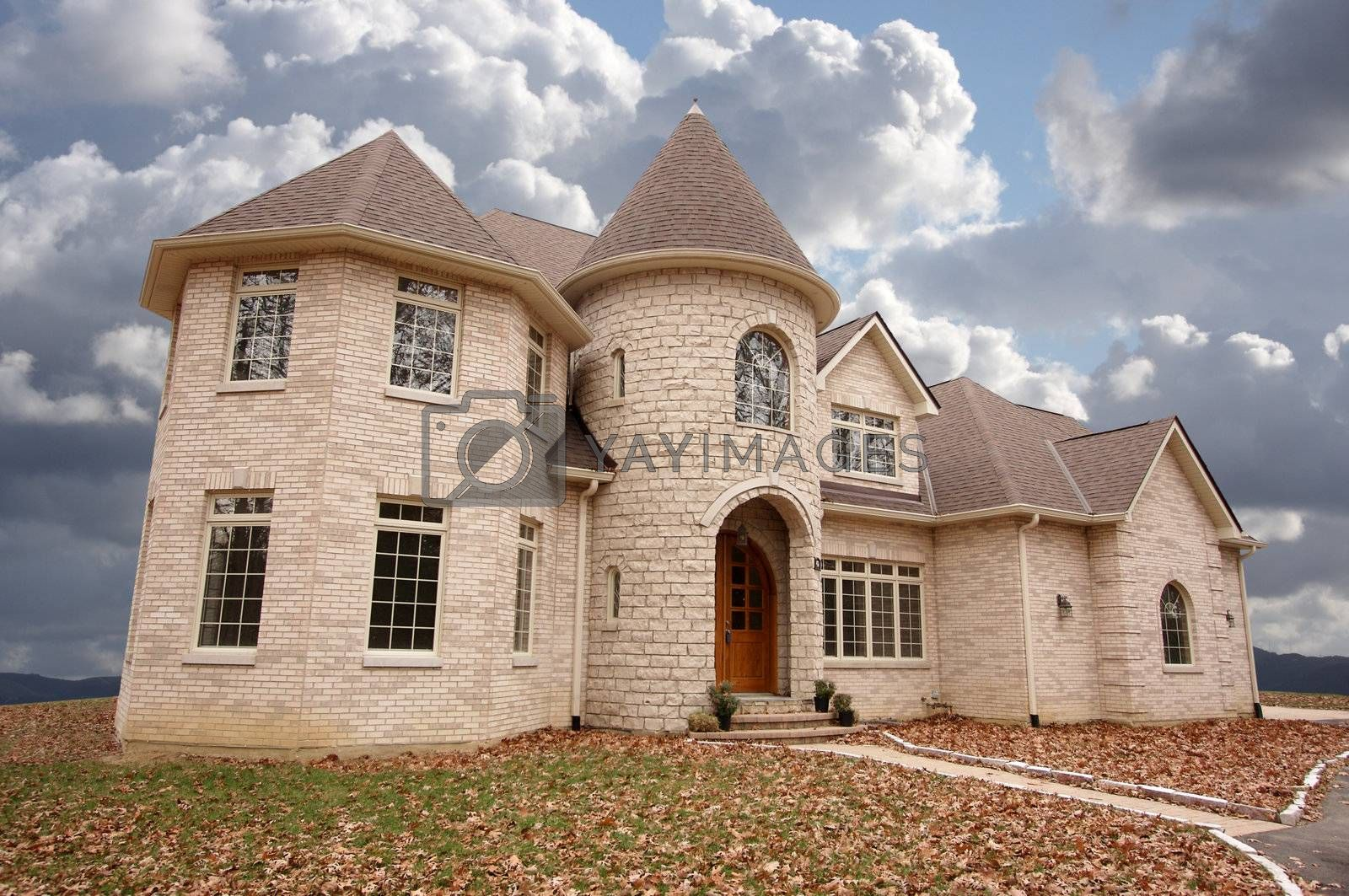 Majestic Newly Constructed Home Facade on a Blustry Day