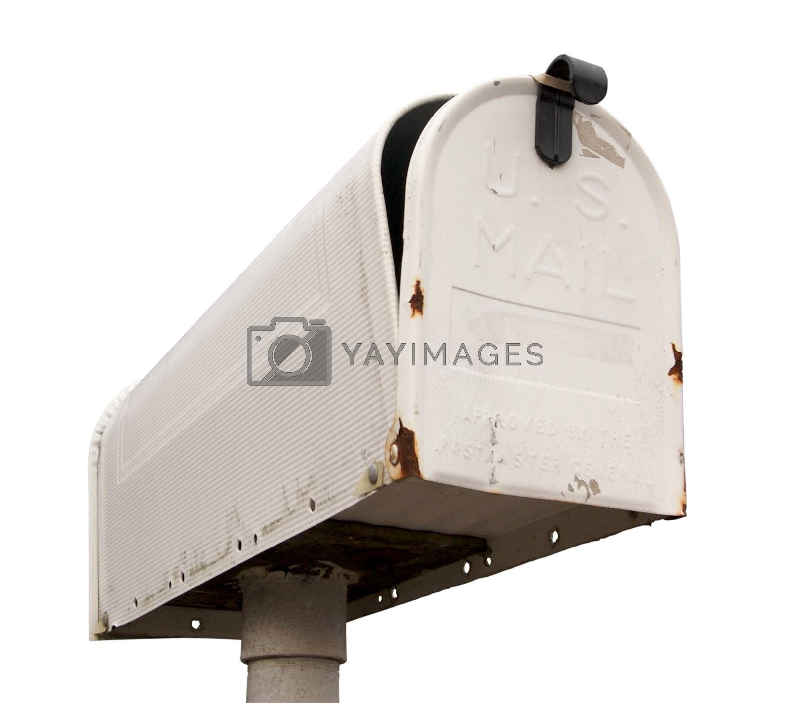 Weathered Old Mailbox Isolated on a White Background