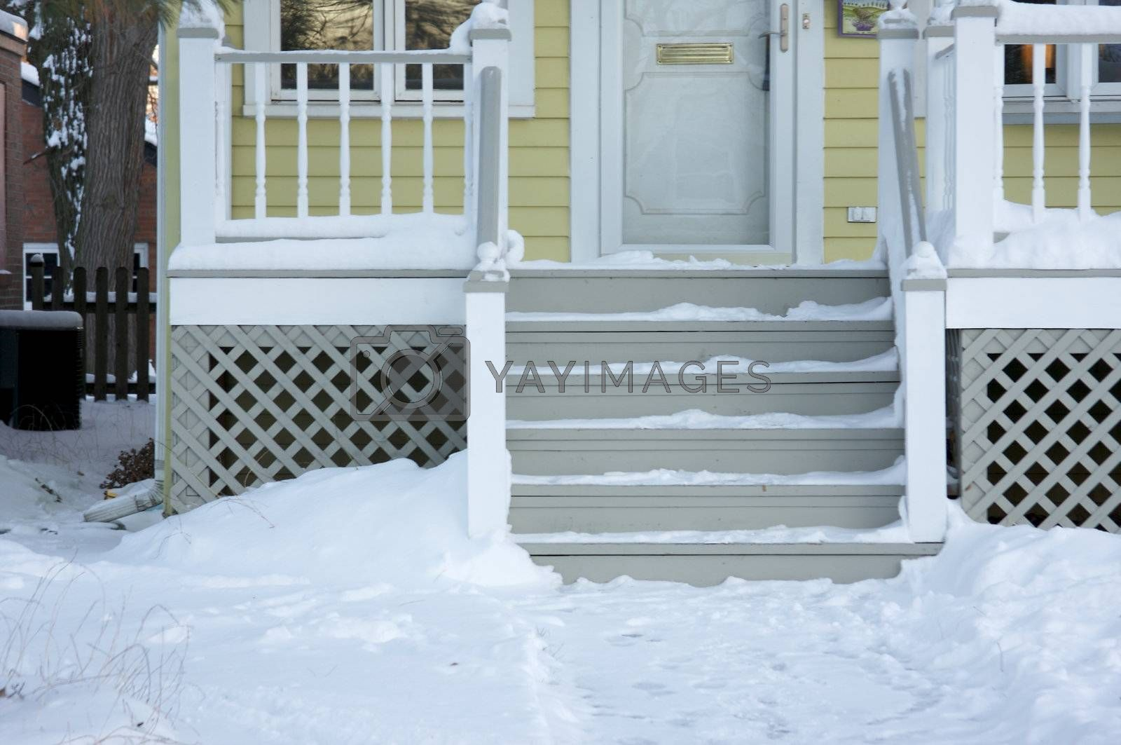 Home Facade and Steps on a Blustry Winter Day