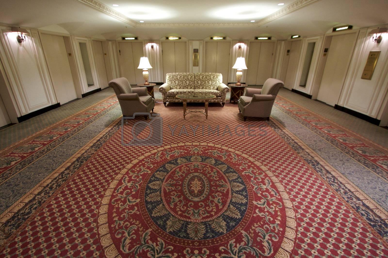 Classic Elevator Lobby Interior of a Hotel