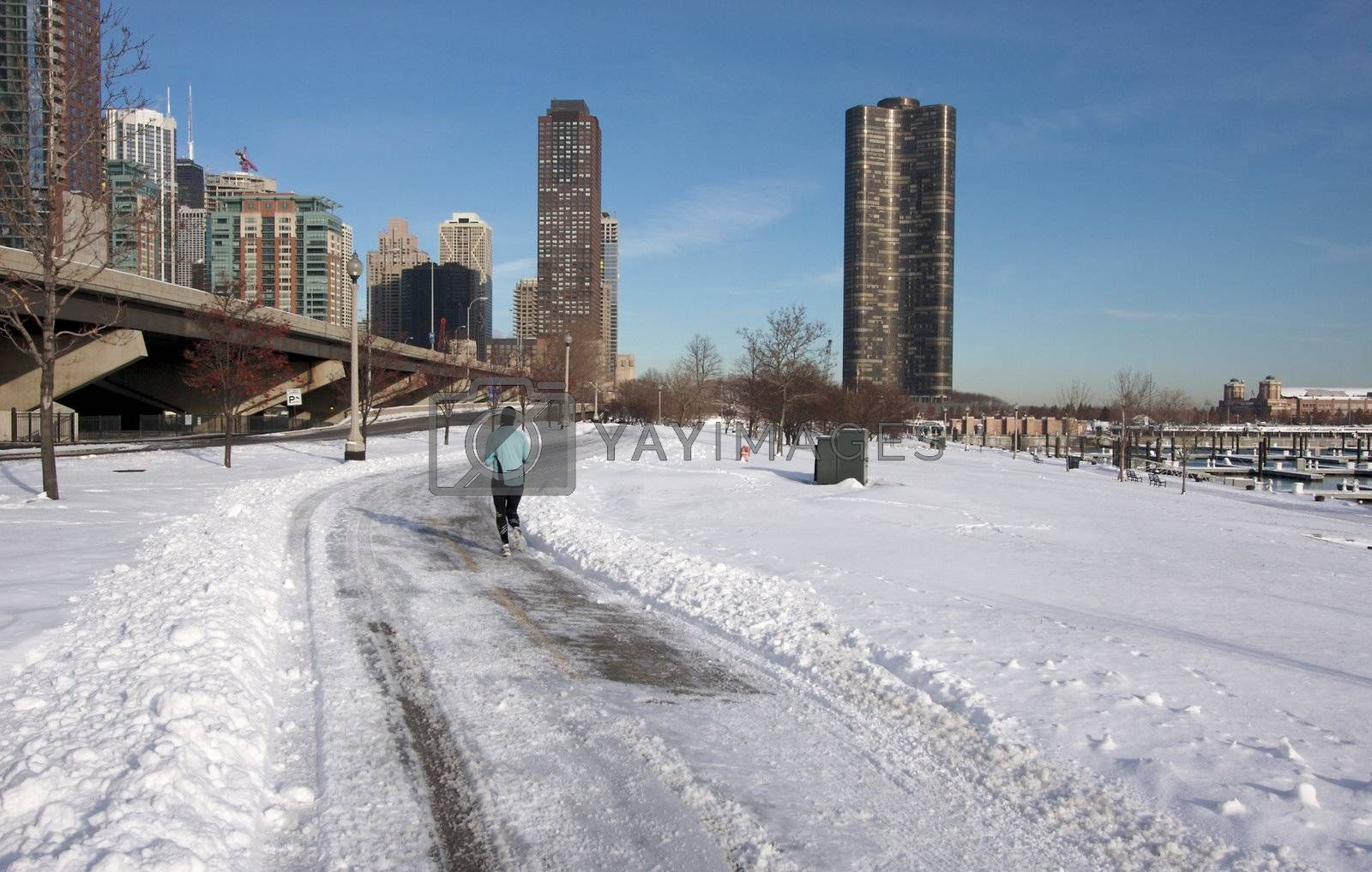 Modern buildings in downtown Chicago as Runner Endures the Cold.