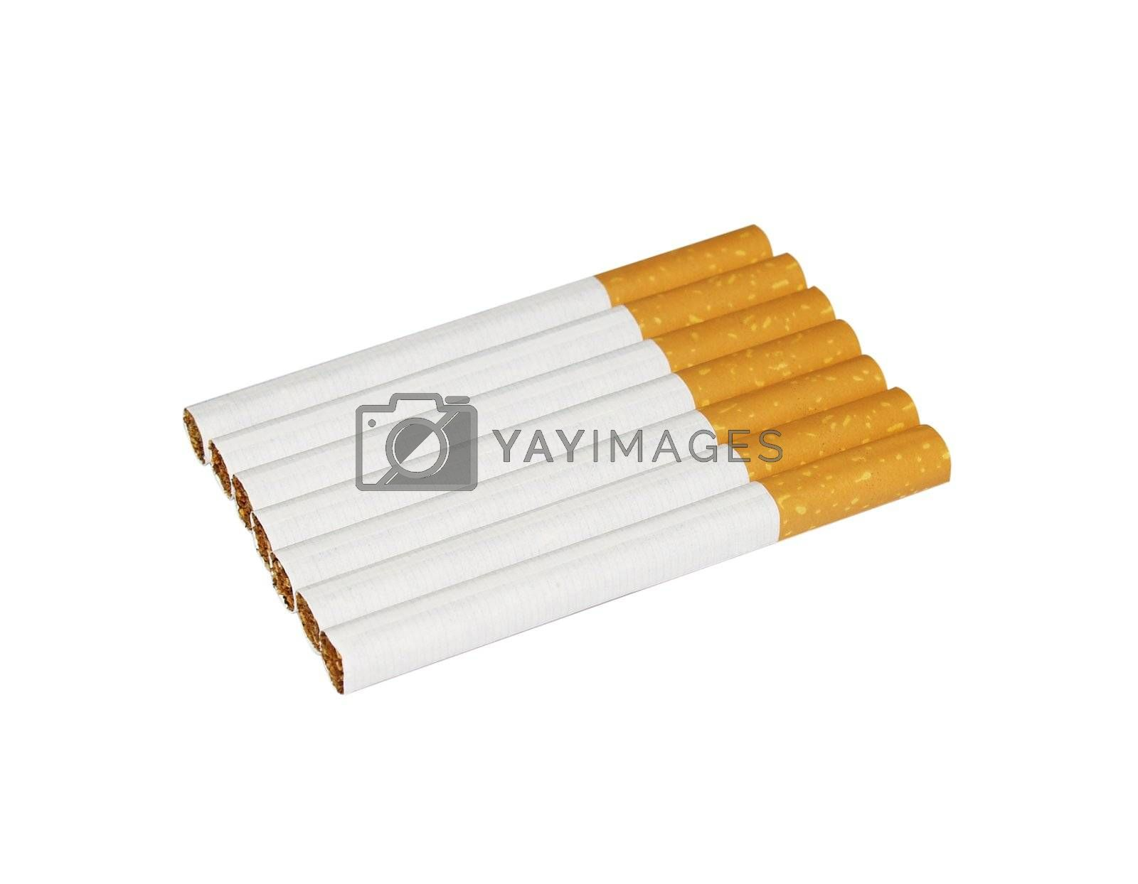 7 cigarettes isolated on white (with paths)