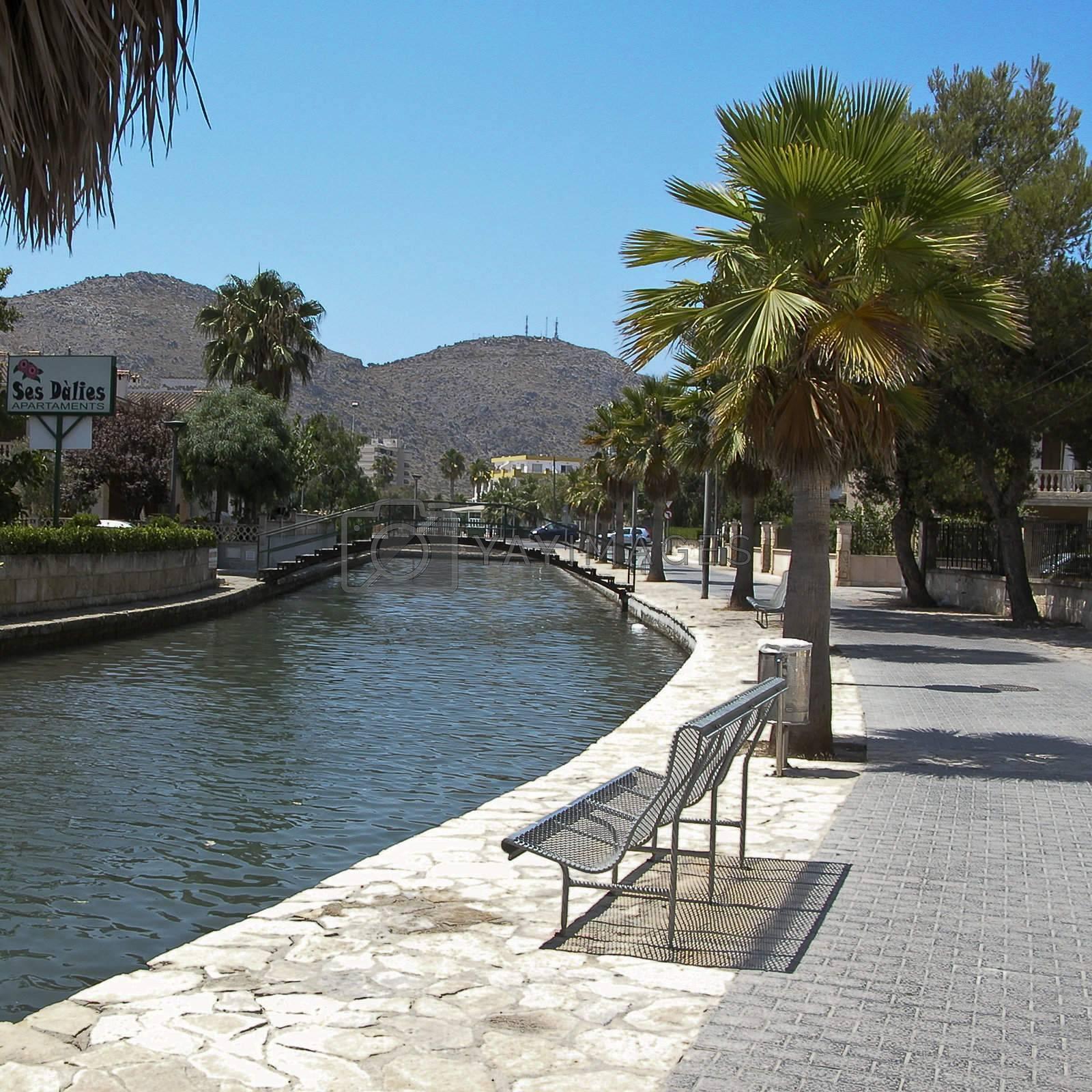 River crossing the city in Alcudia