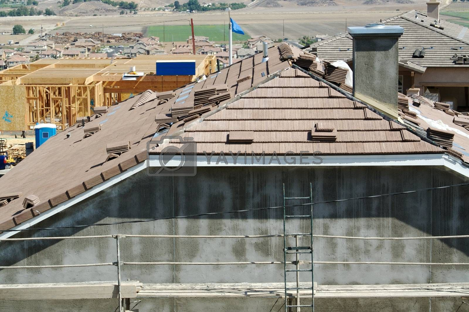 New Home Construction Site Roof and Tiles
