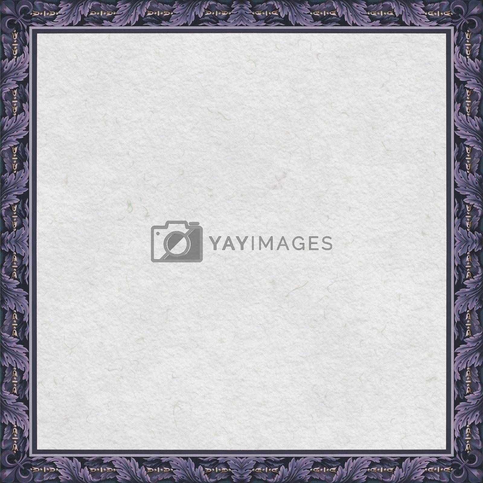 Square baroque frame with watercolor paper background