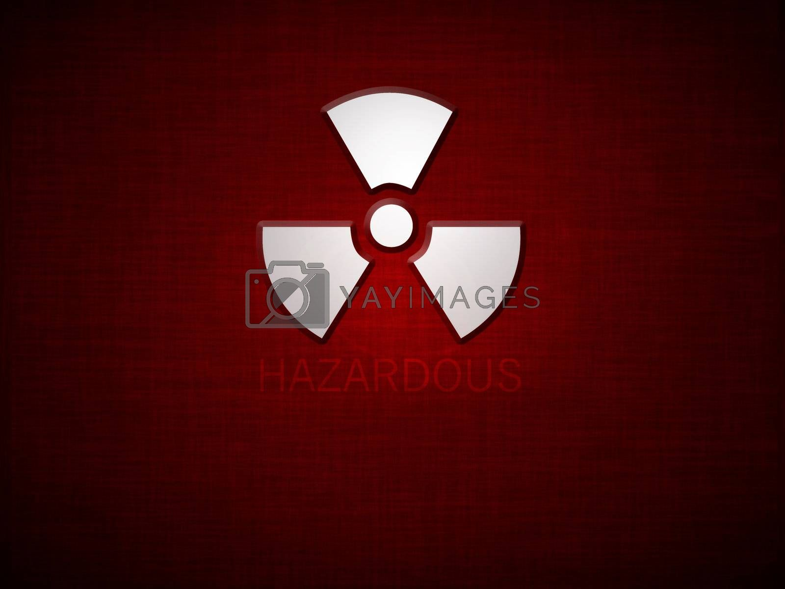 Red grunge background with sign and text saying hazardous
