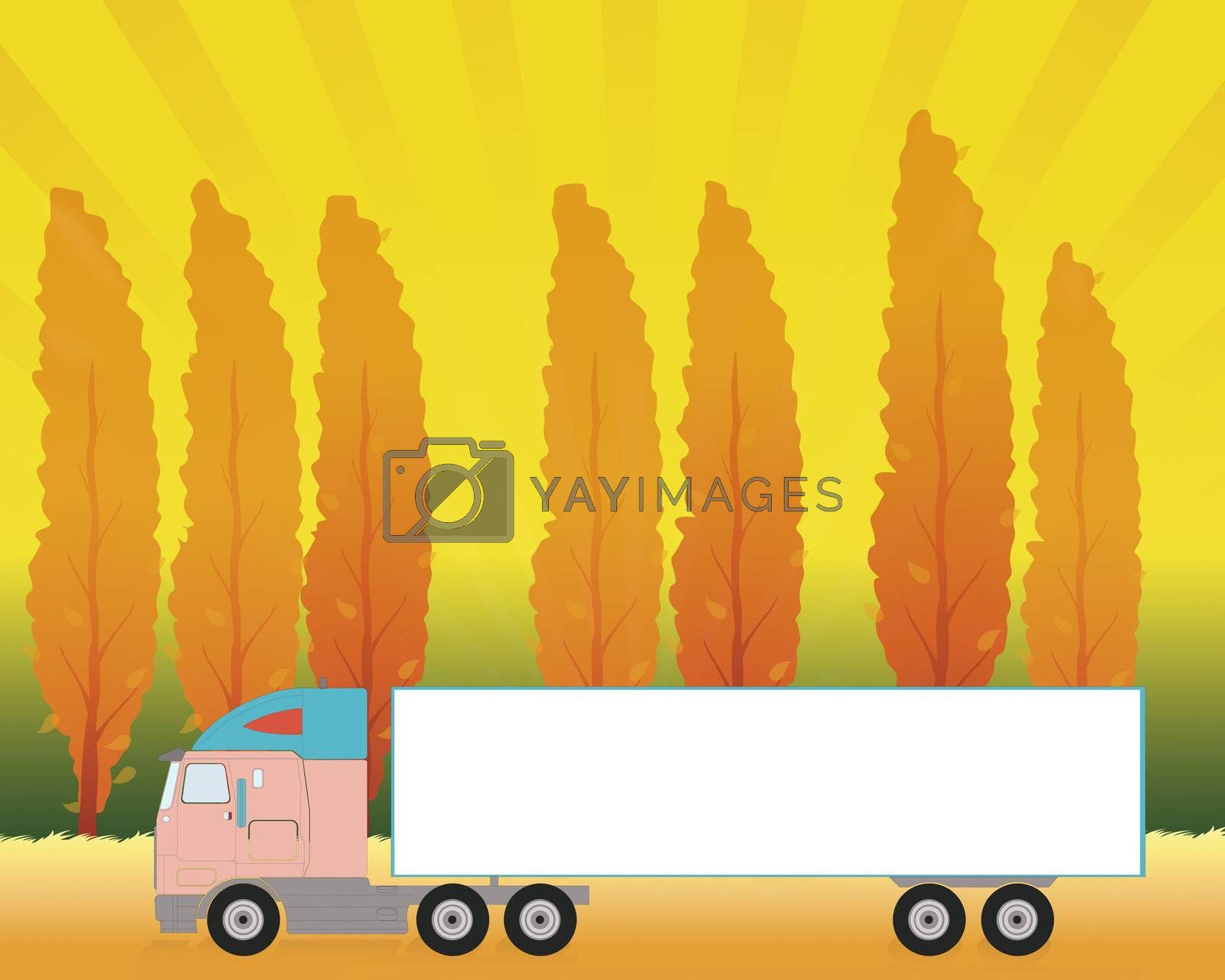 Truck in an autumn landscape. Space on the truck for adding text.