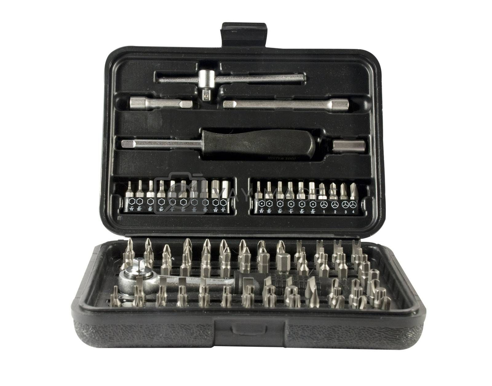 toolbox with different kinds of screwdrivers and other tool kits