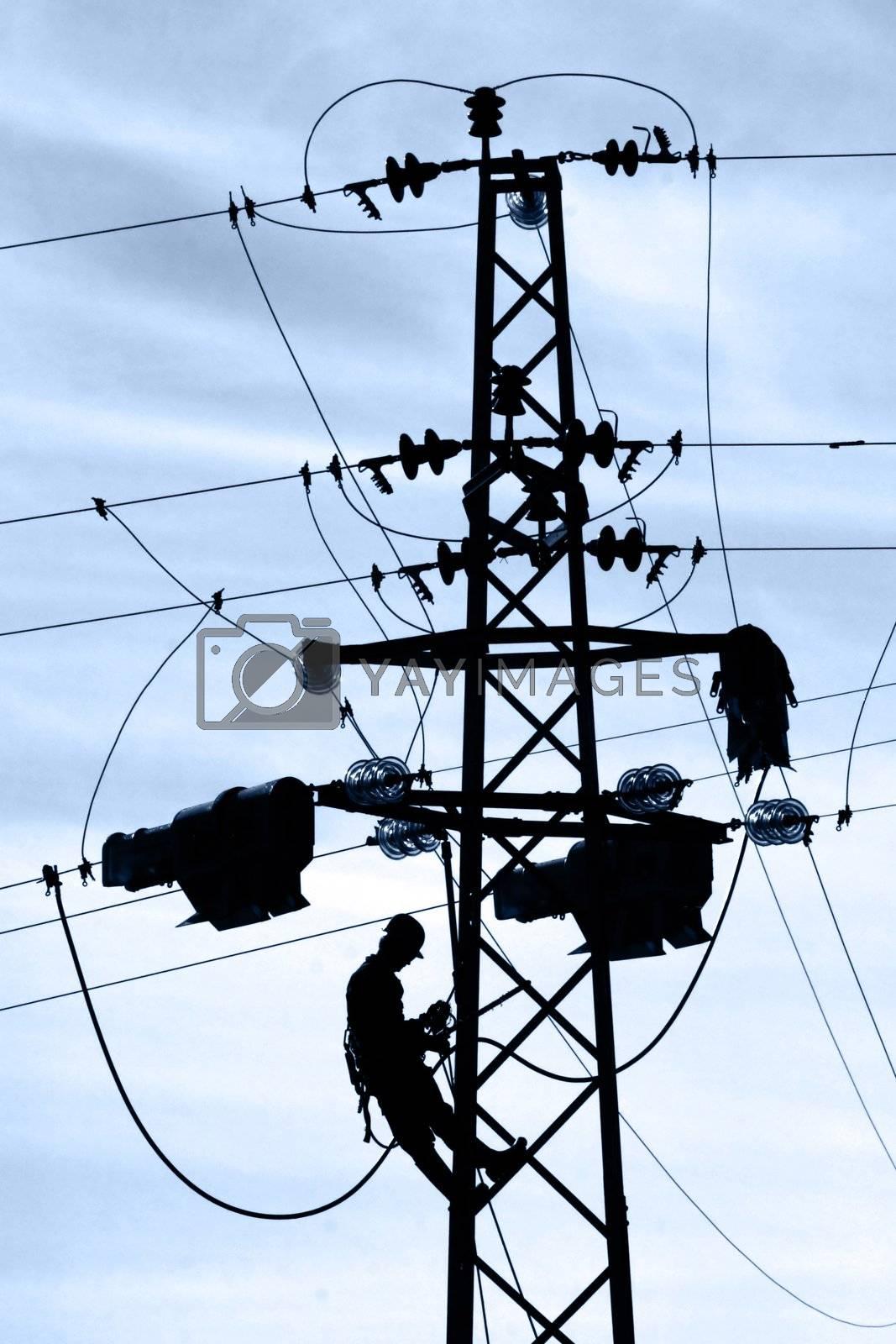 Powerline worker on service