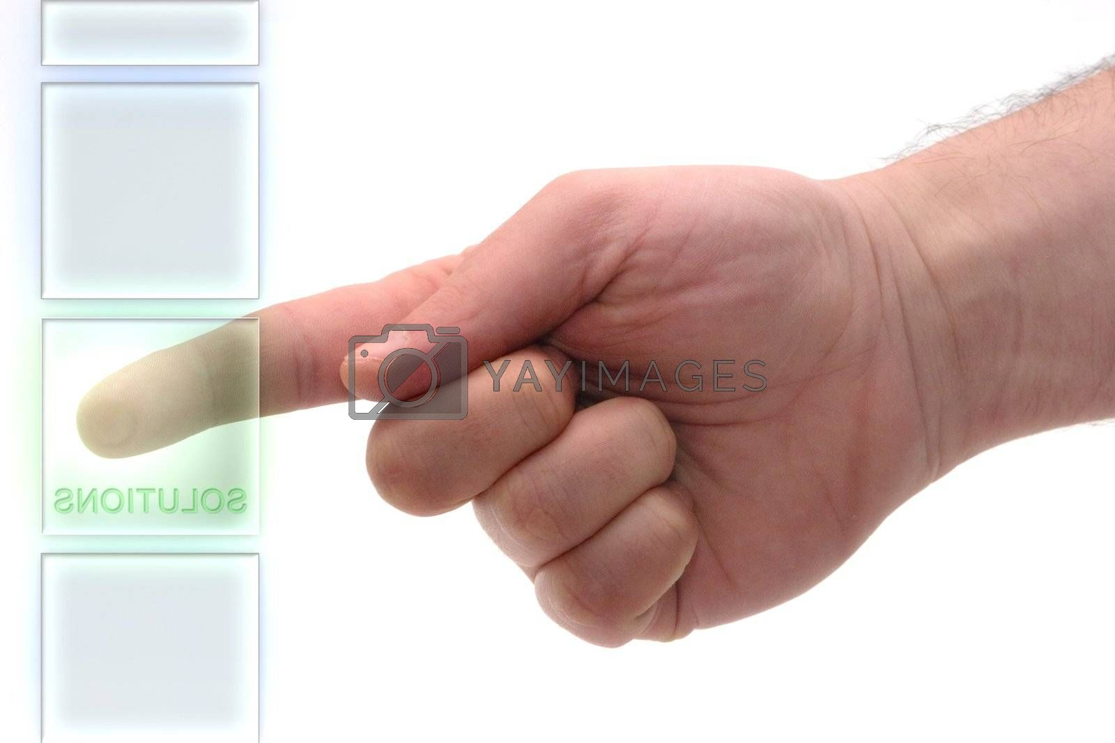 """Concept : Glass keyboard with """"Solutions"""" key."""
