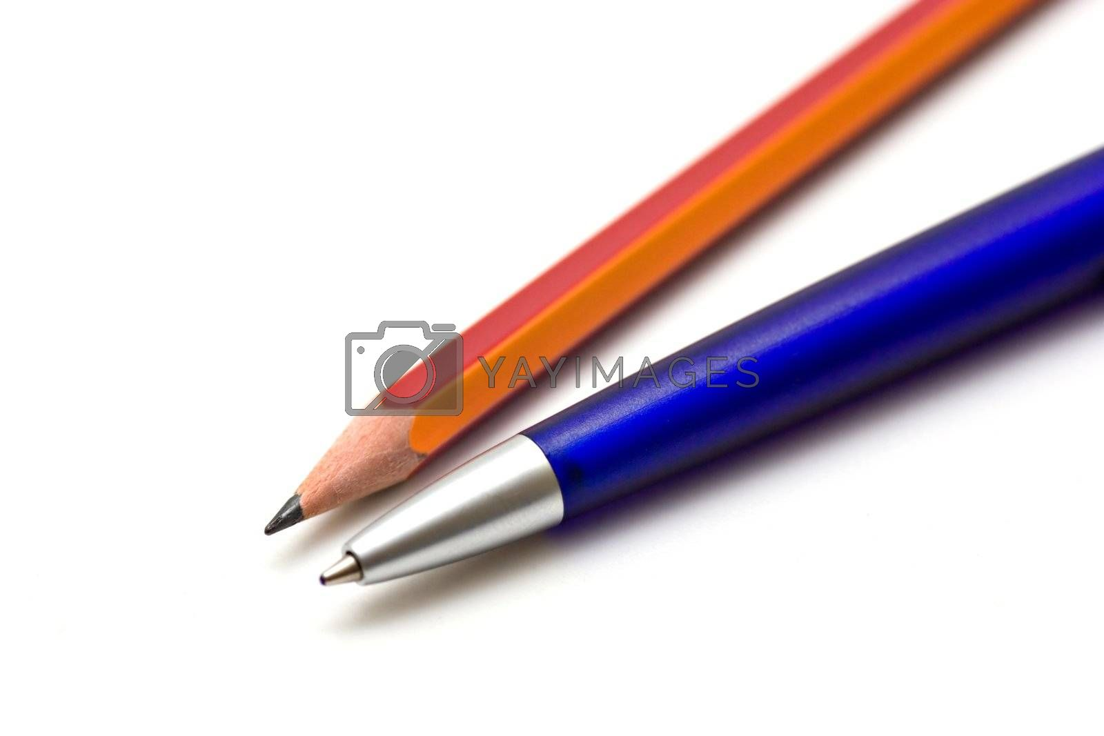 Pen and pencil isolated on white