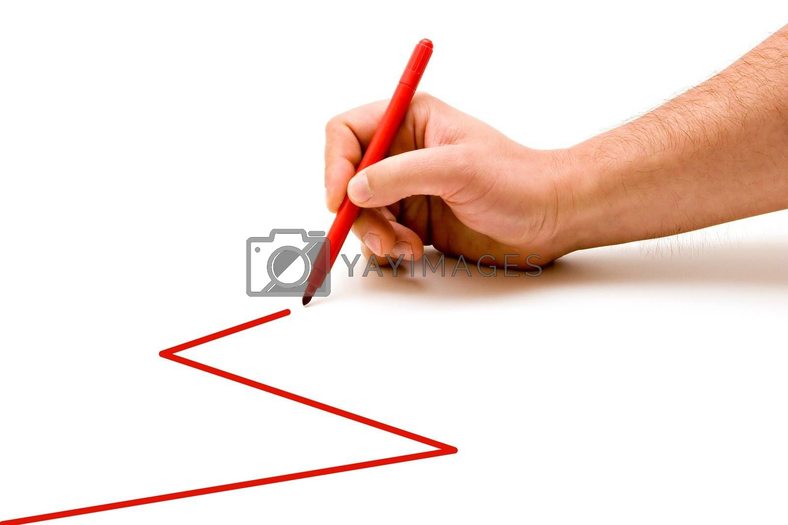 Drawing graphic with red marker on white paper.