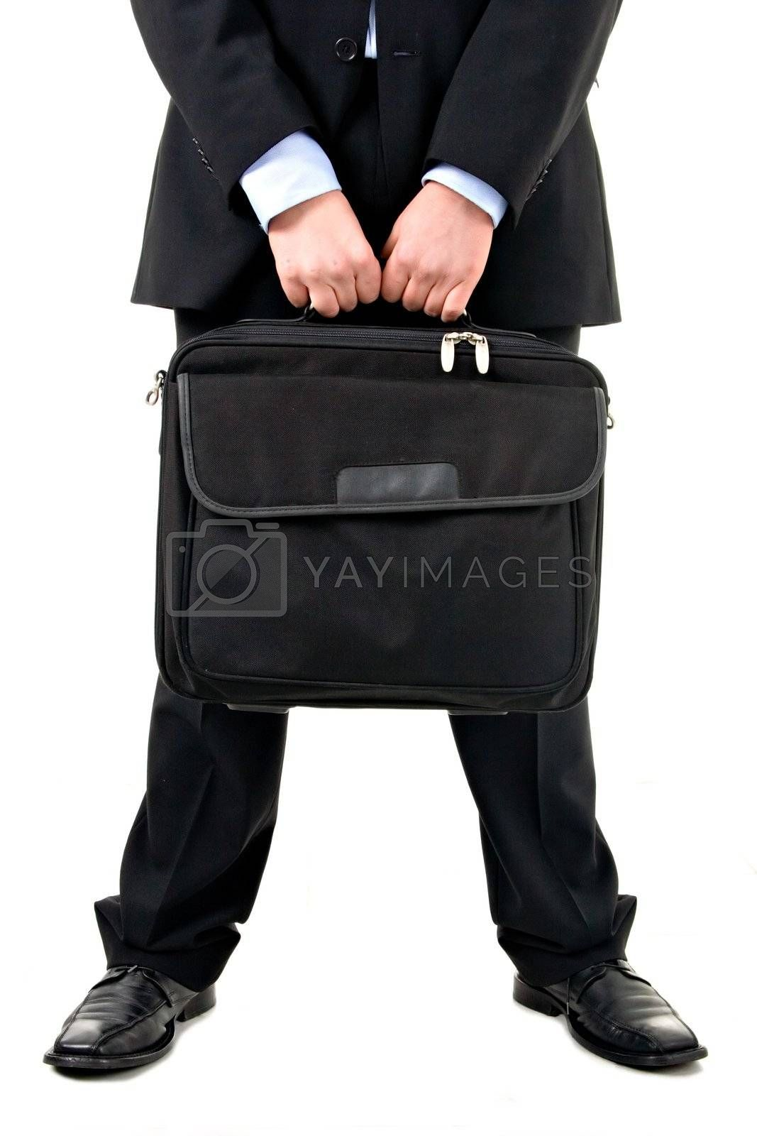 Man holding computer suitcase.