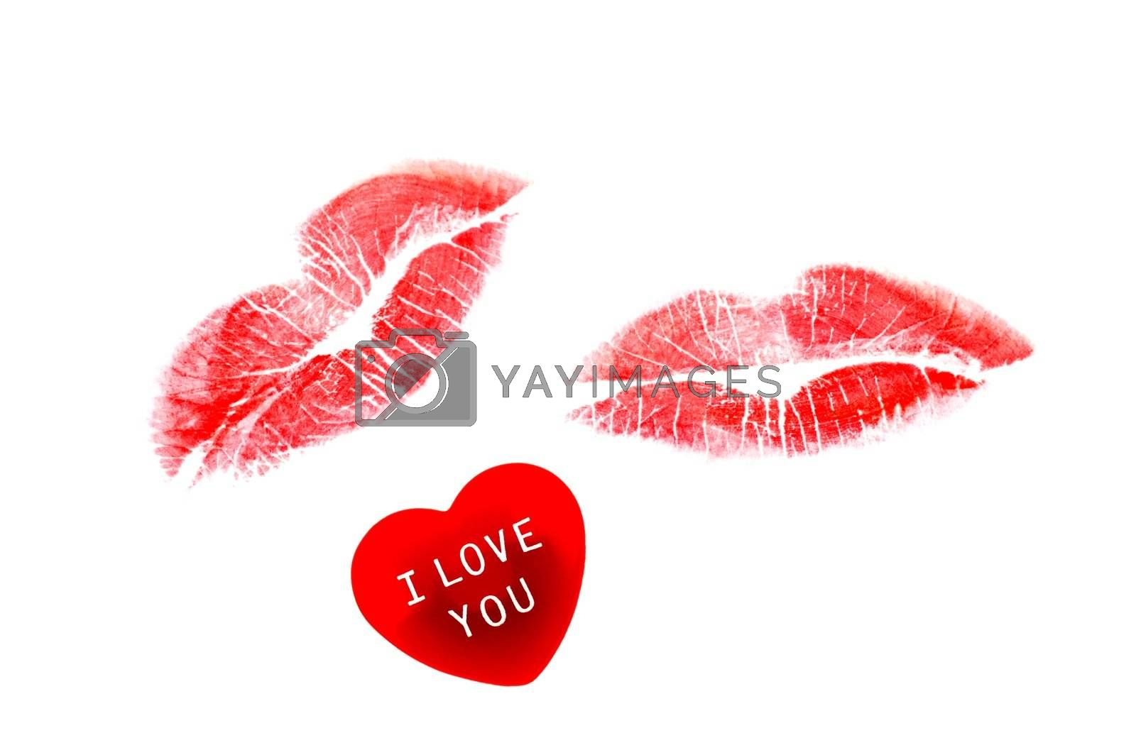 Red heart with I Love You message with two lipstick kisses isolated on white